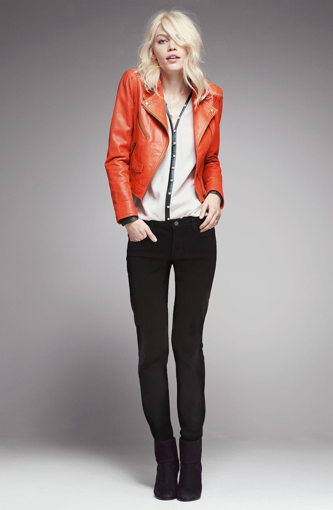 Alternate Image 4  - Elizabeth and James 'Chantal' Leather Trim Blouse