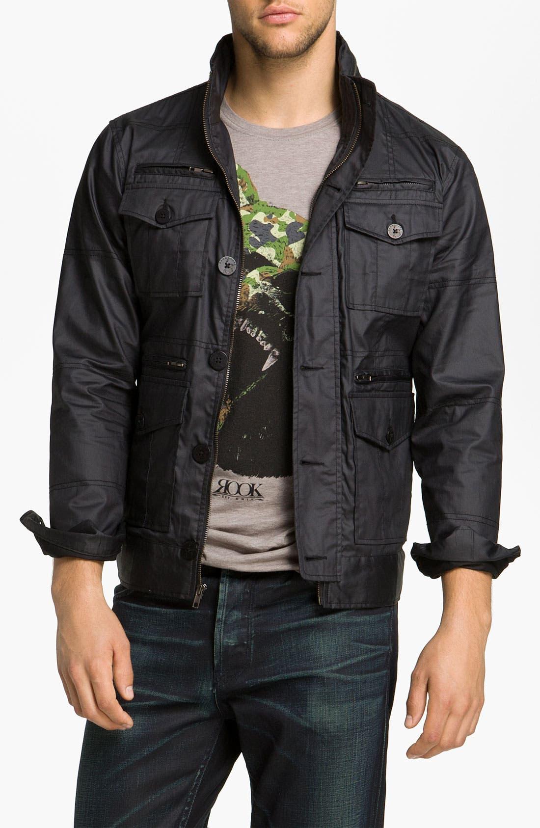 Main Image - Kane & Unke Coated Cotton Trim Fit Jacket