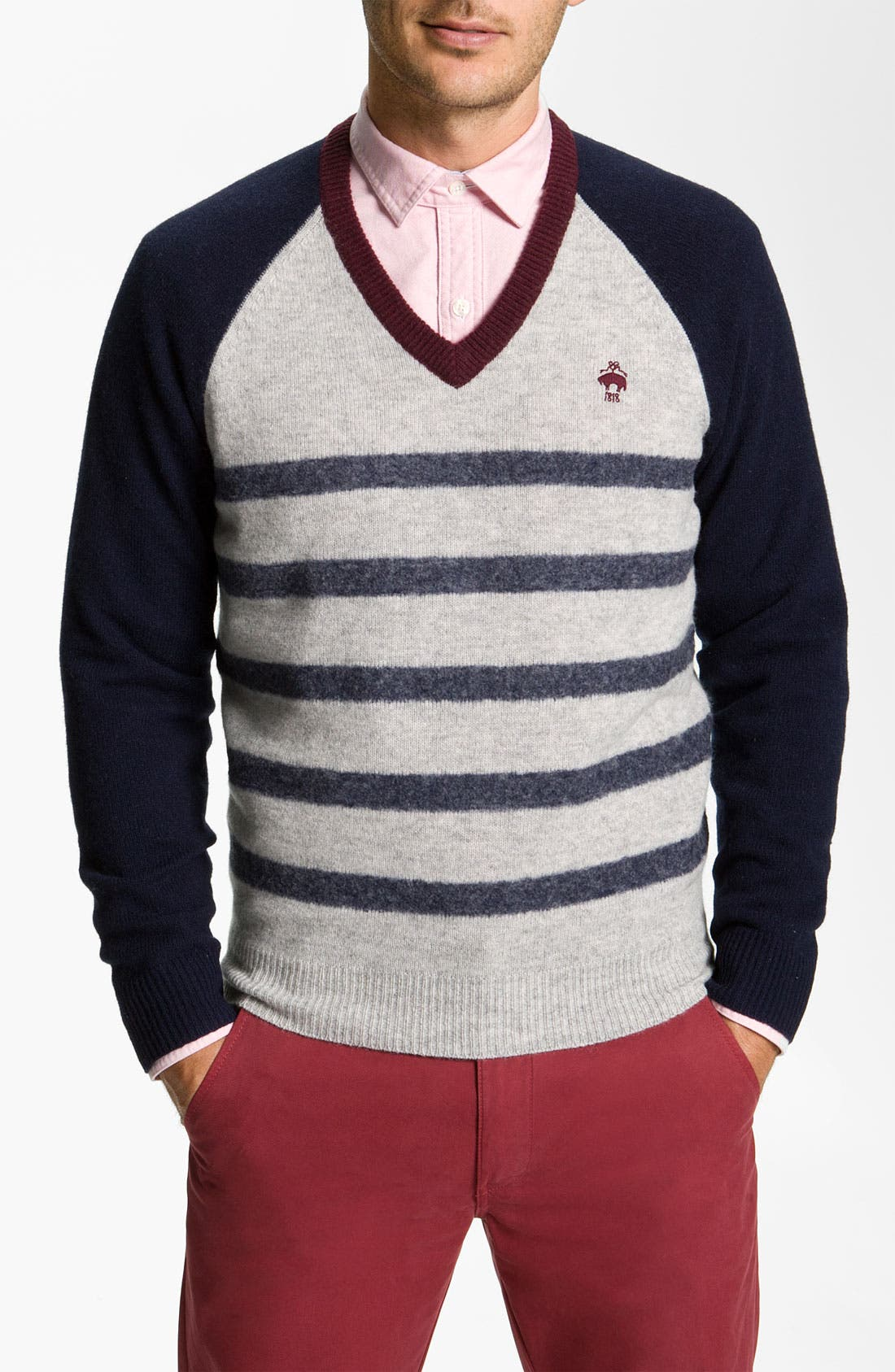 Alternate Image 1 Selected - Brooks Brothers Stripe V-Neck Sweater