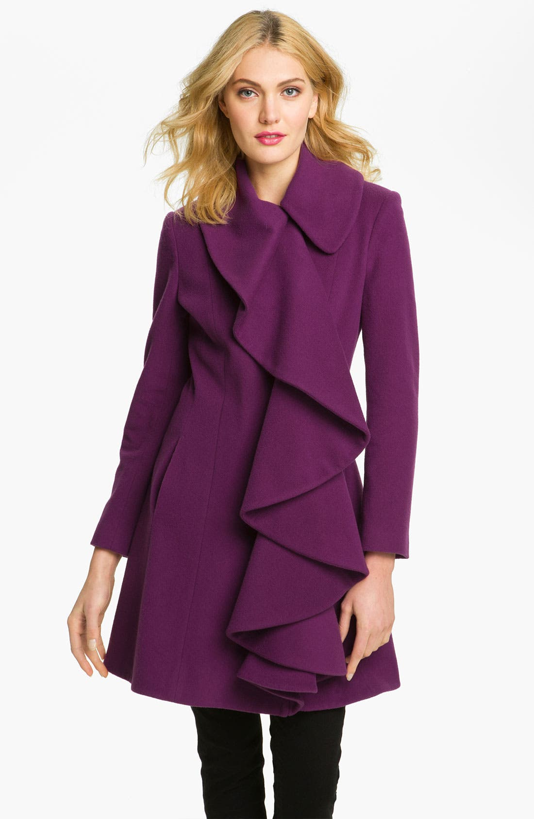 Alternate Image 1 Selected - Helene Berman Ruffle Front Coat