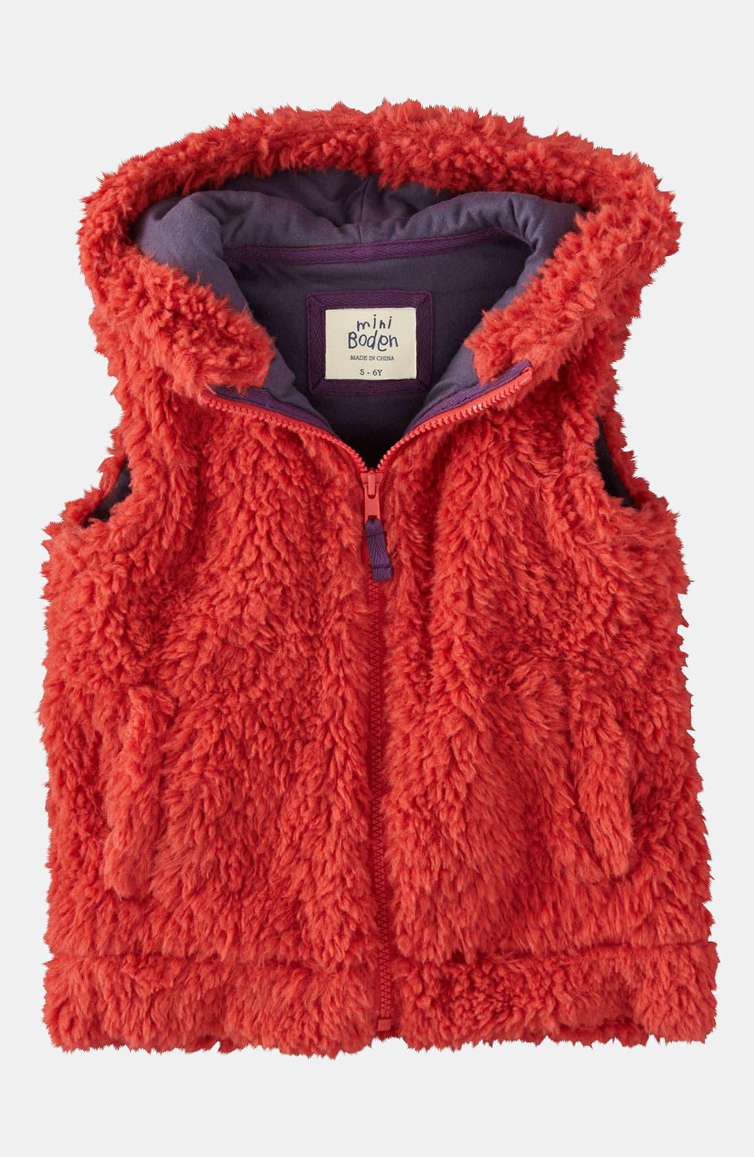 Alternate Image 1 Selected - Mini Boden 'Cozy' Vest (Toddler)