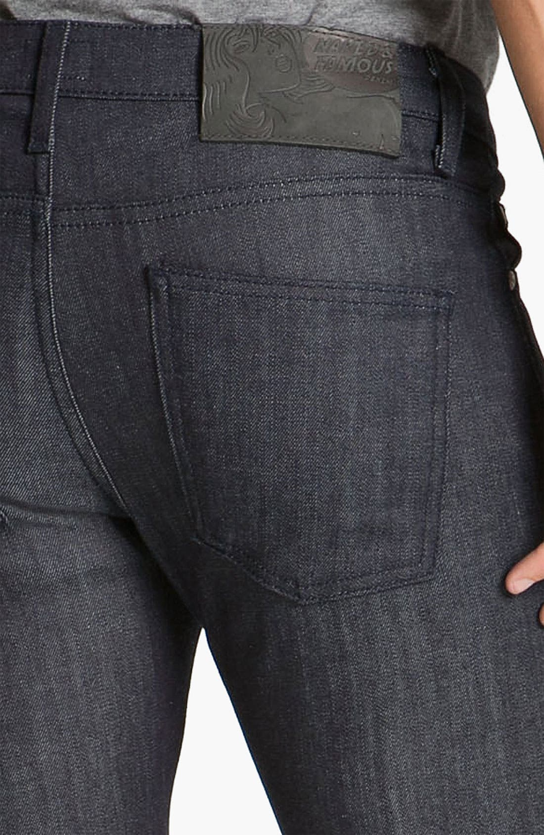 Alternate Image 4  - Naked & Famous Denim 'Skinny Guy' Slim Cotton Cashmere Skinny Leg Jeans (Dark Indigo)