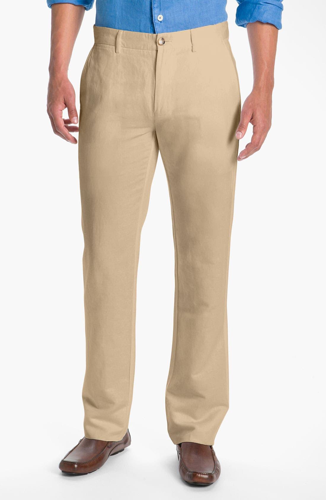 Main Image - Façonnable Flat Front Linen & Cotton Pants