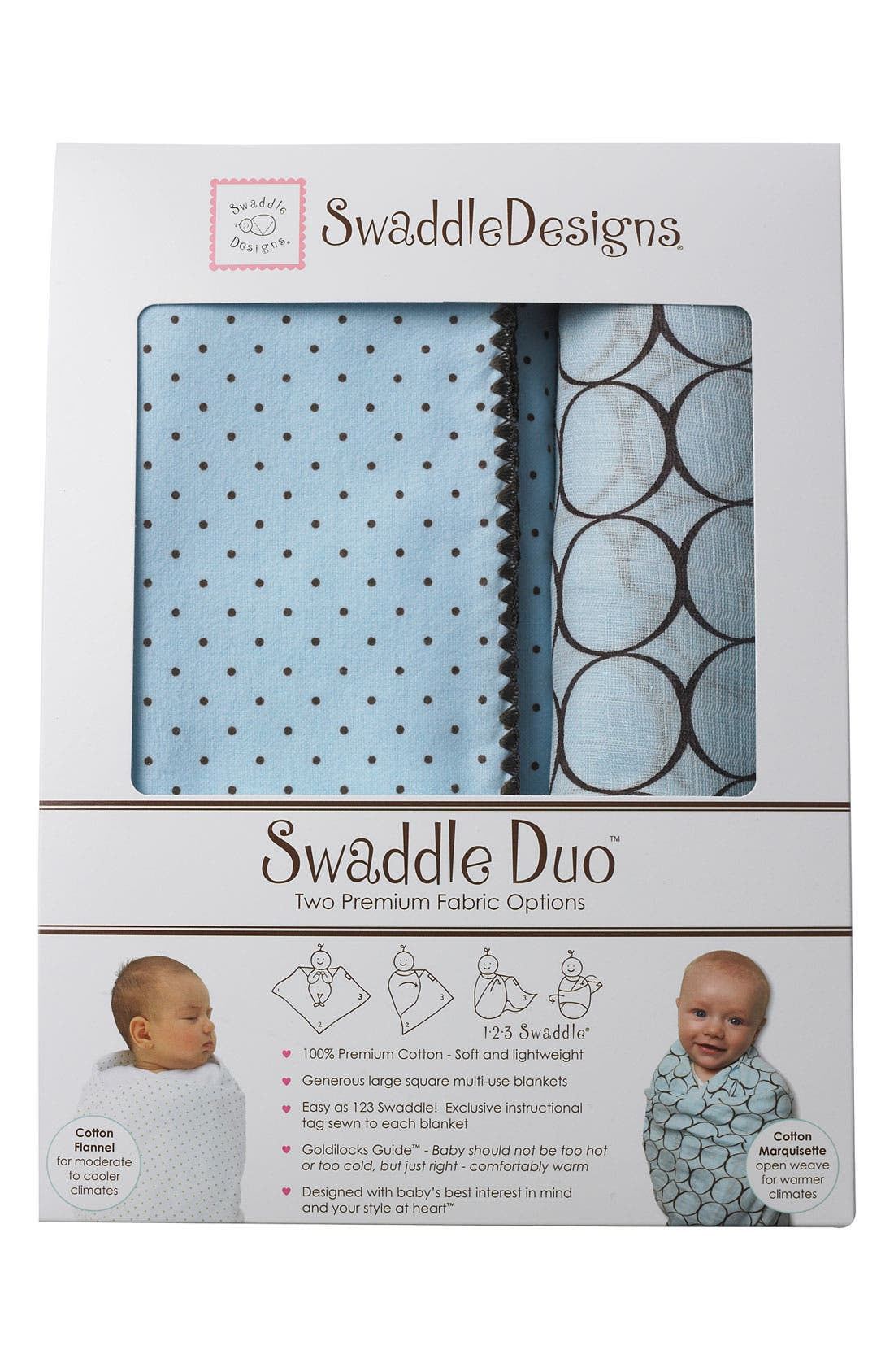 Alternate Image 1 Selected - Swaddle Designs Pattern Blanket (Set of 2)