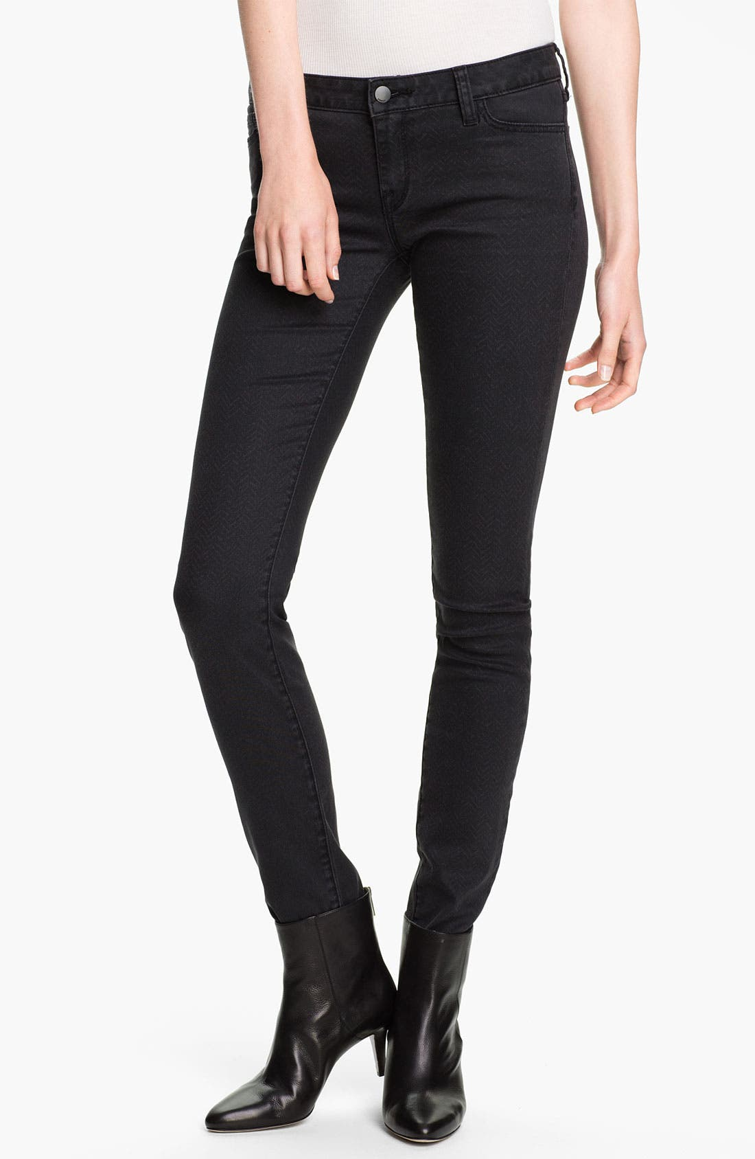 Alternate Image 1 Selected - Vince Print Stretch Skinny Jeans (Charcoal Herringbone)