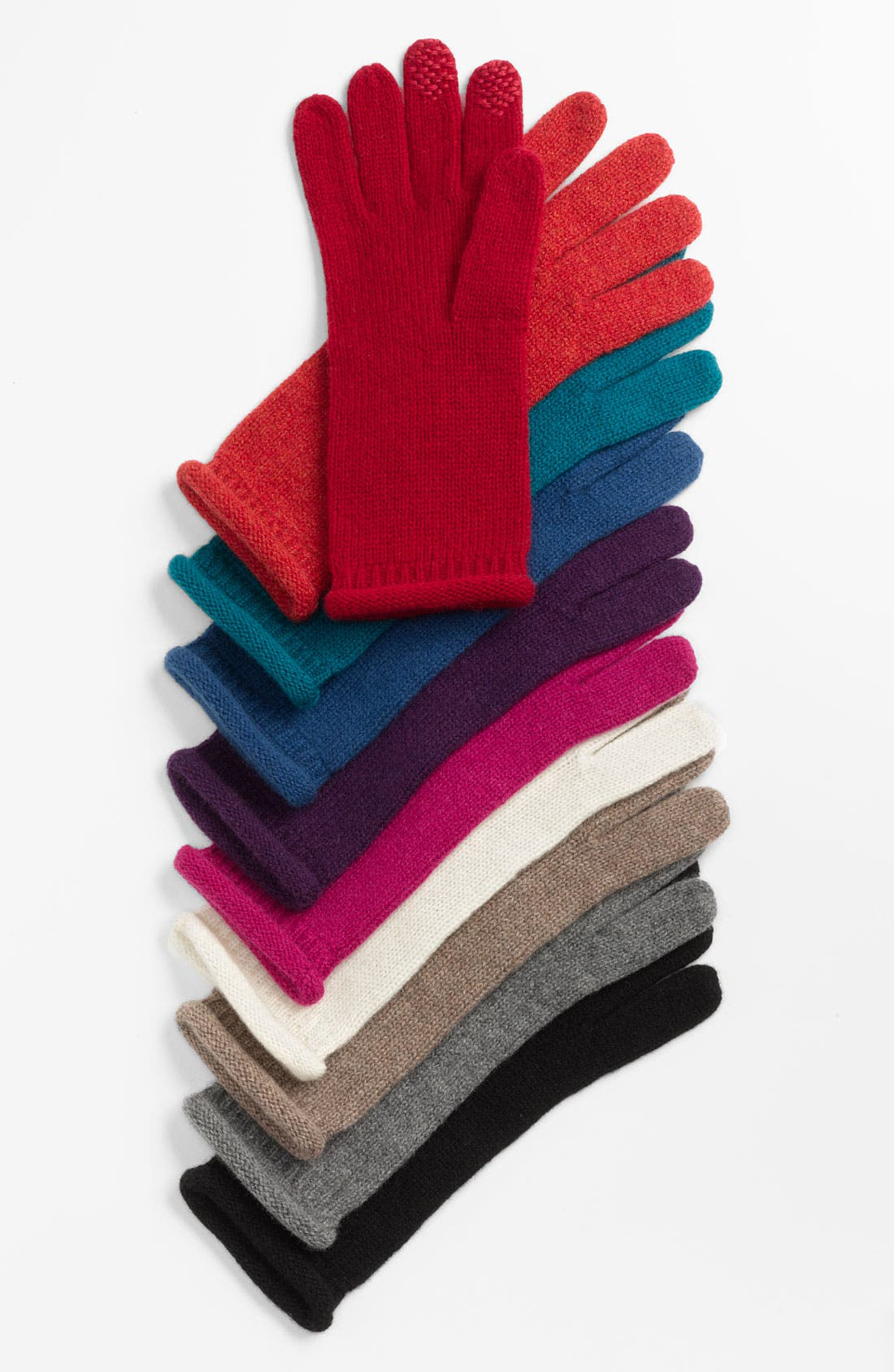 Alternate Image 1 Selected - Nordstrom Rolled Edge Cashmere Tech Gloves