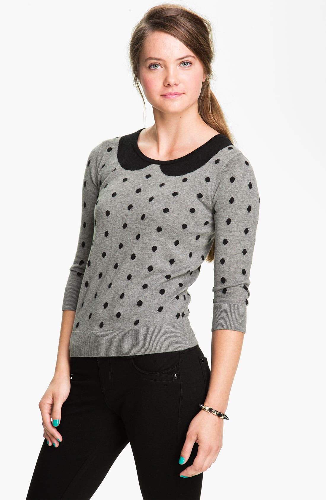 Alternate Image 1 Selected - Frenchi® Polka Dot Peter Pan Sweater (Juniors)