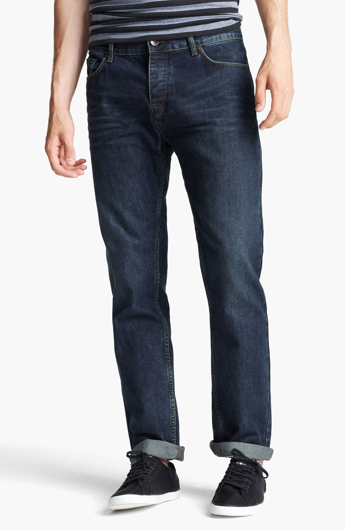 Alternate Image 1 Selected - Topman 'Luther' Slim Fit Jeans (Indigo)