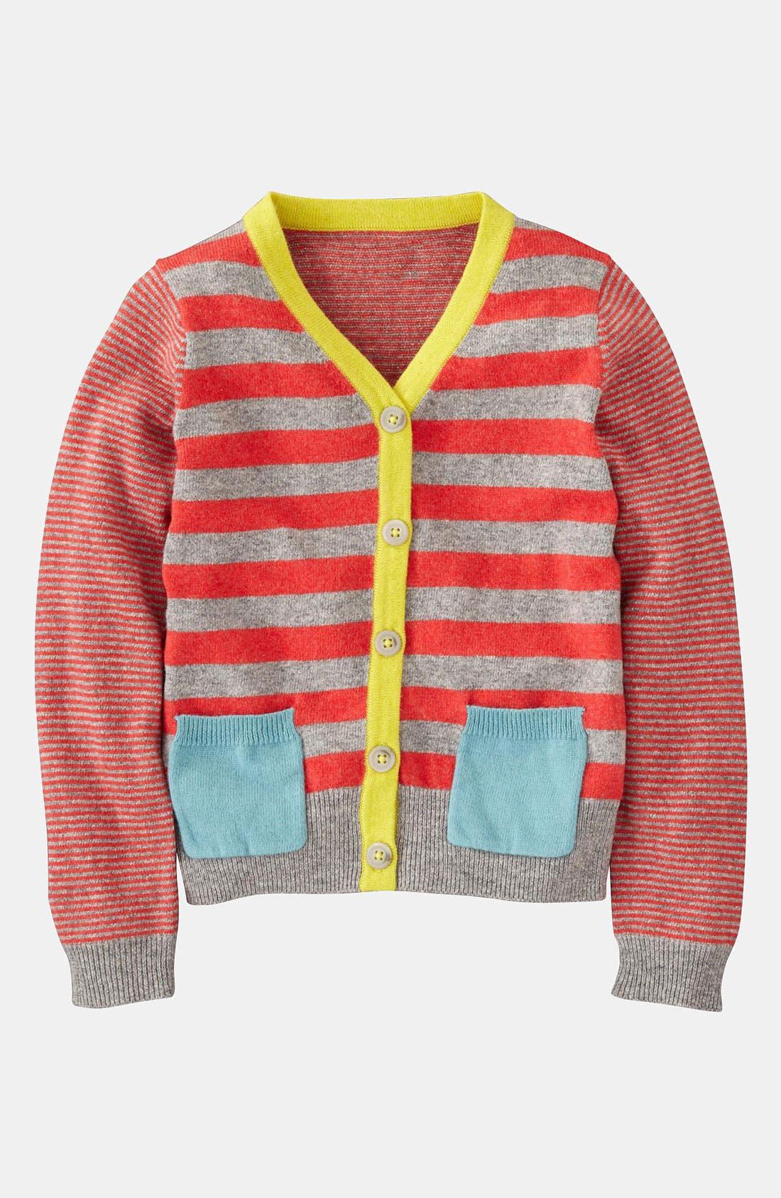 'Hotchpotch' Cardigan,                         Main,                         color, Grey Melange/ Soft Red Stripe