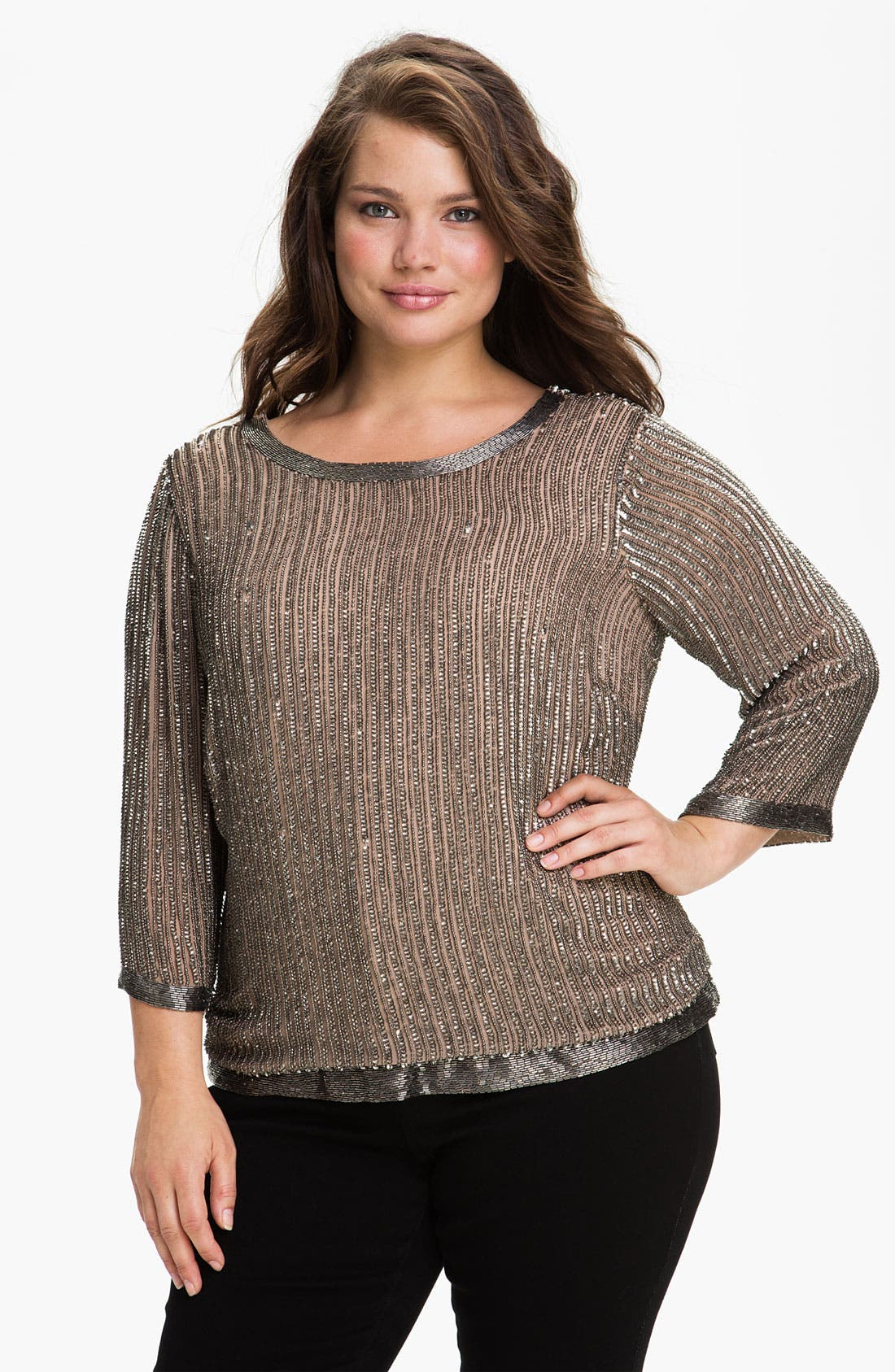 Main Image - Adrianna Papell Beaded Back Scoop Neck Top (Plus)