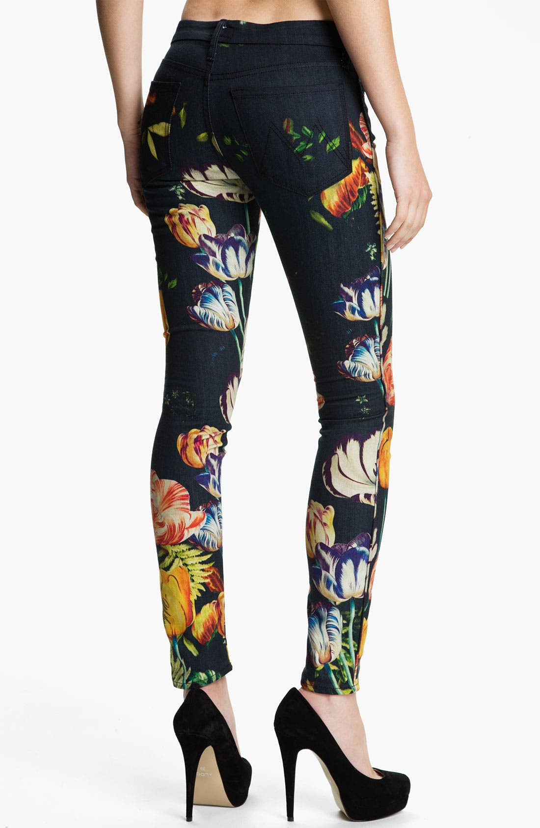 Alternate Image 2  - MOTHER 'The Looker' Print Skinny Jeans (Kissed Me Floral)