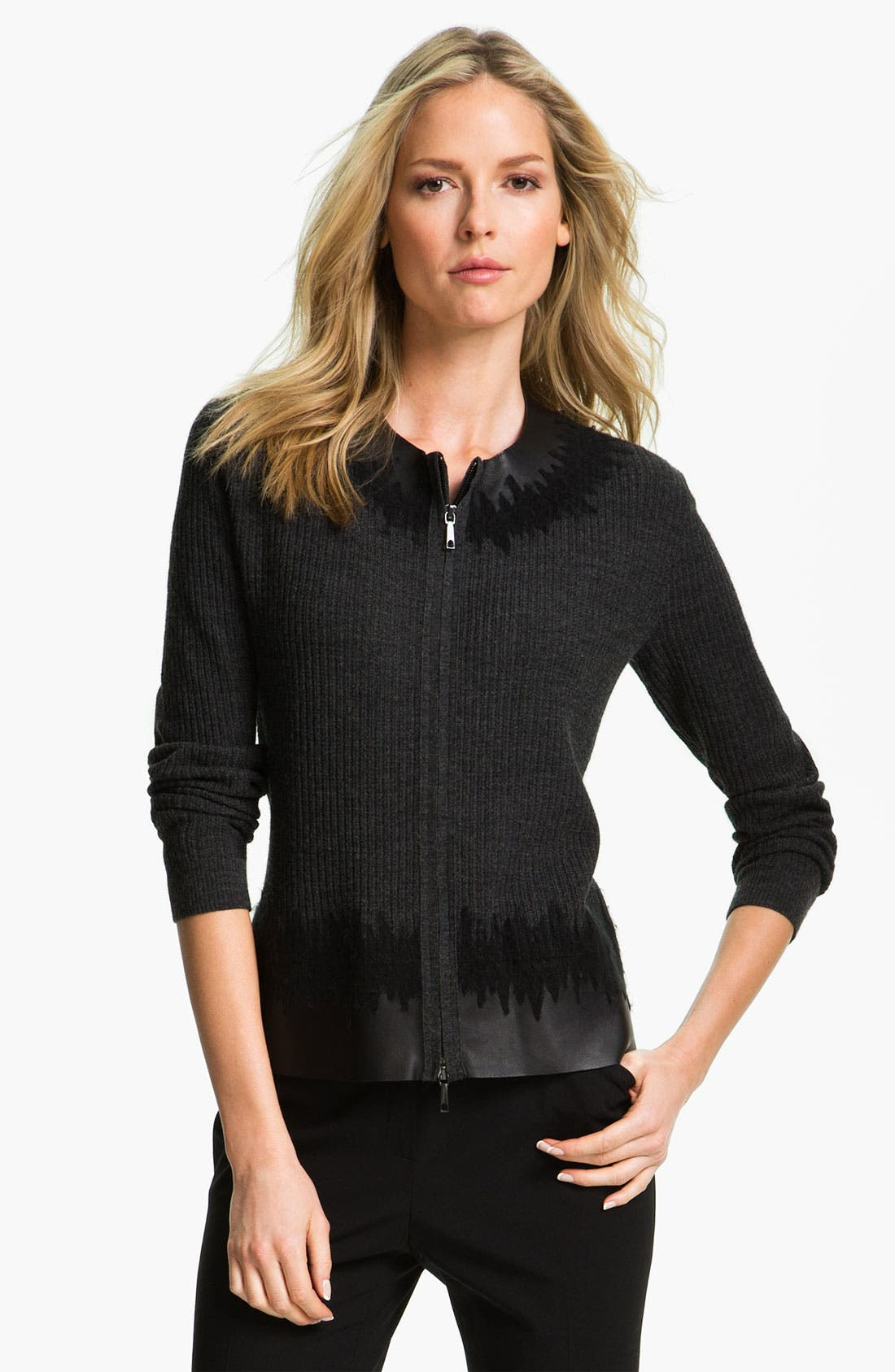 Main Image - Lafayette 148 New York Leather Trim Cardigan