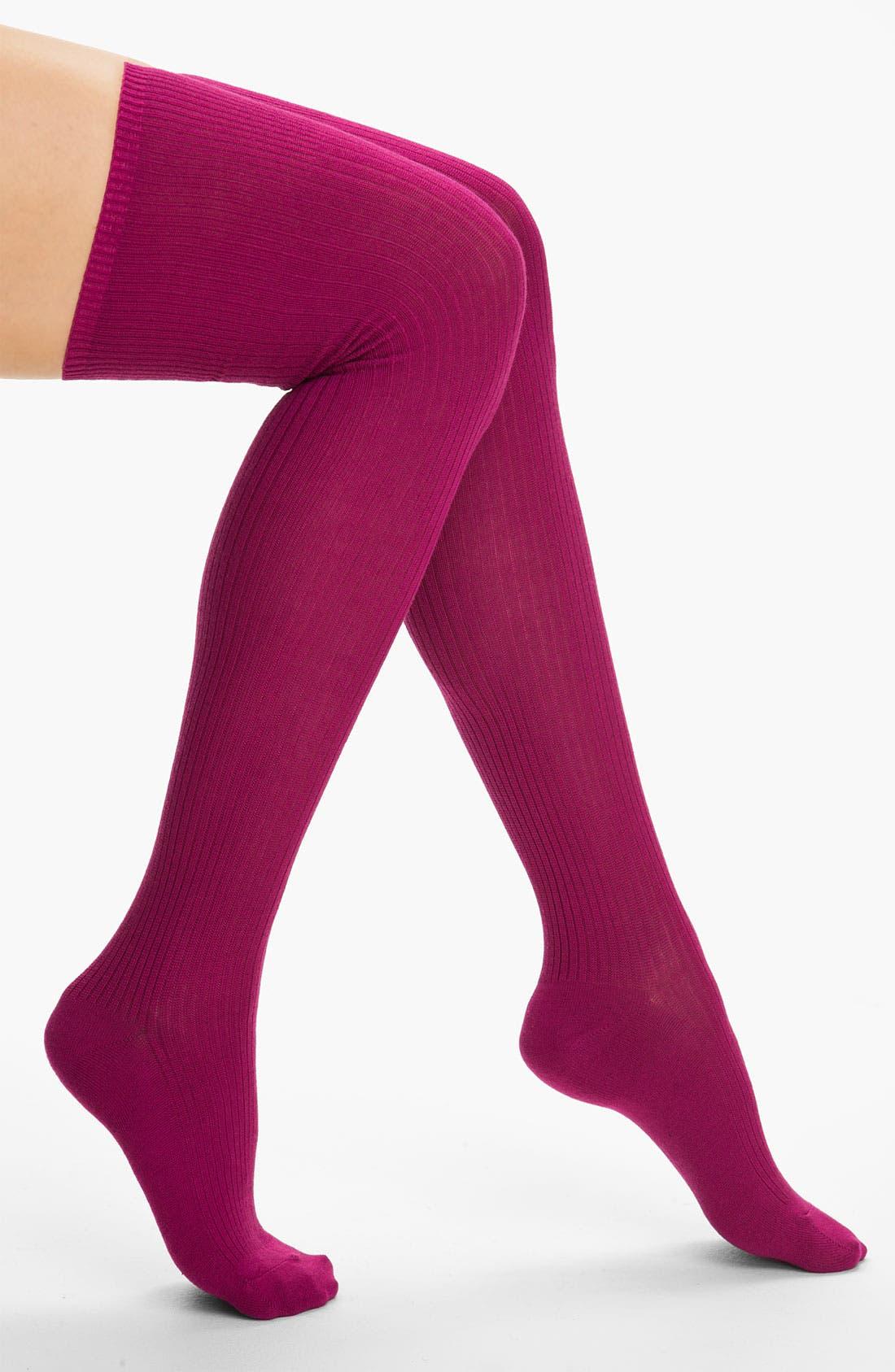 Main Image - Hue Ribbed Over the Knee Socks