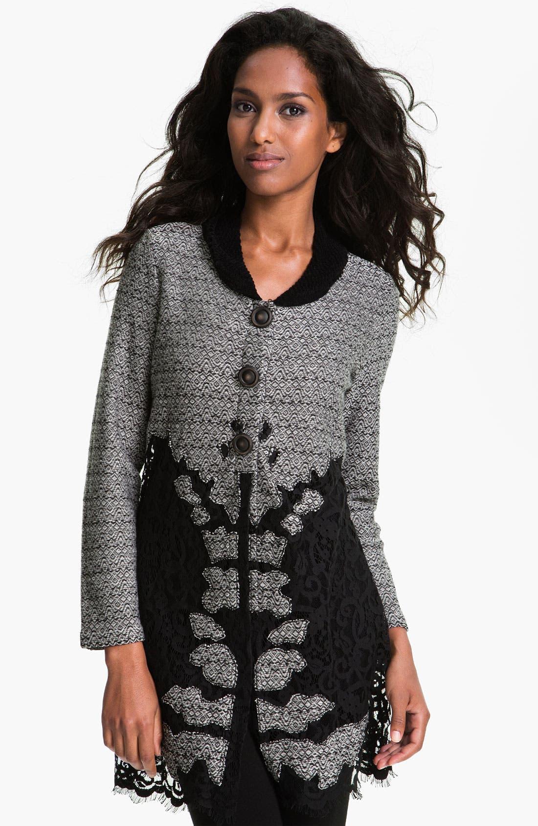 Alternate Image 1 Selected - Nic + Zoe Lace Trim Sweater Jacket