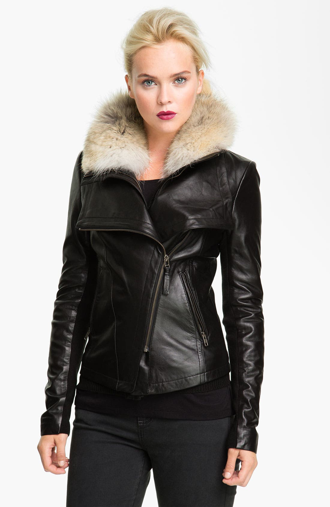 Alternate Image 1 Selected - Mackage 'Jora' Genuine Coyote Fur Collar Leather Jacket with Removable Vest