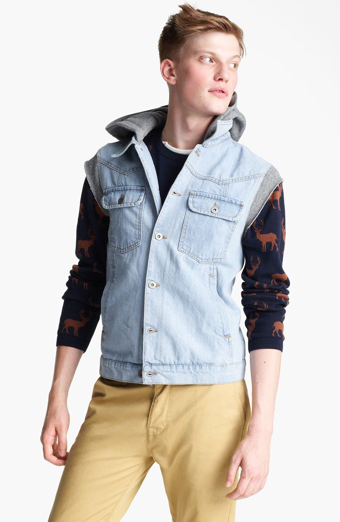 Alternate Image 1 Selected - Topman 'Spade' Hooded Denim Vest