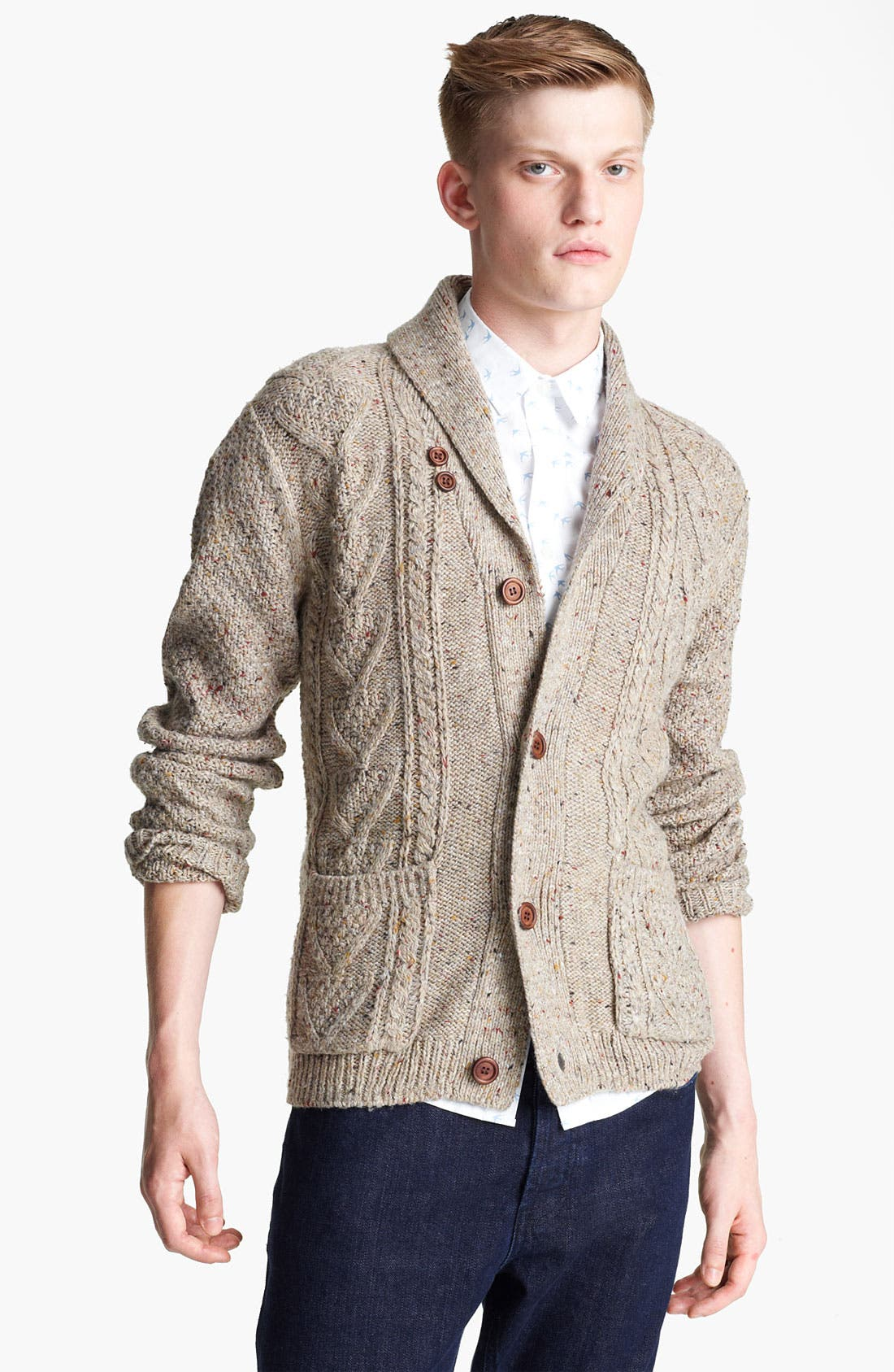 Alternate Image 1 Selected - Topman Nep Shawl Collar Cardigan