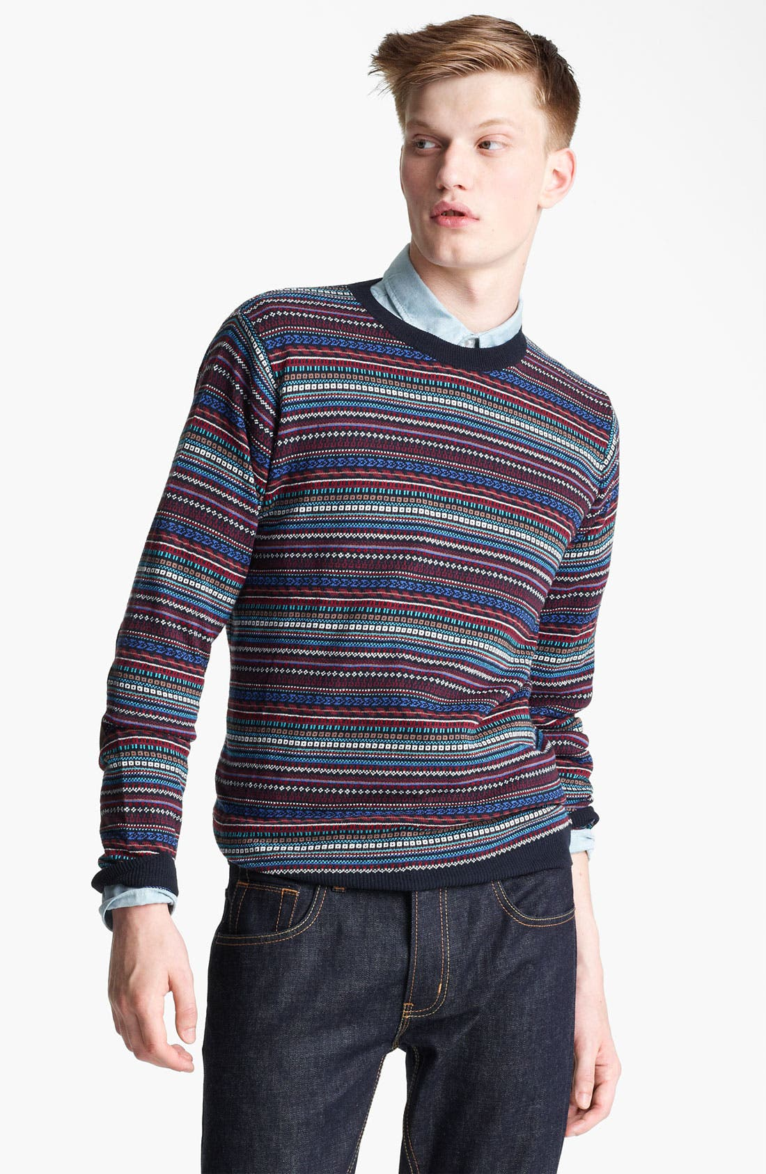 Alternate Image 1 Selected - Topman Pattern Knit Crewneck Sweater