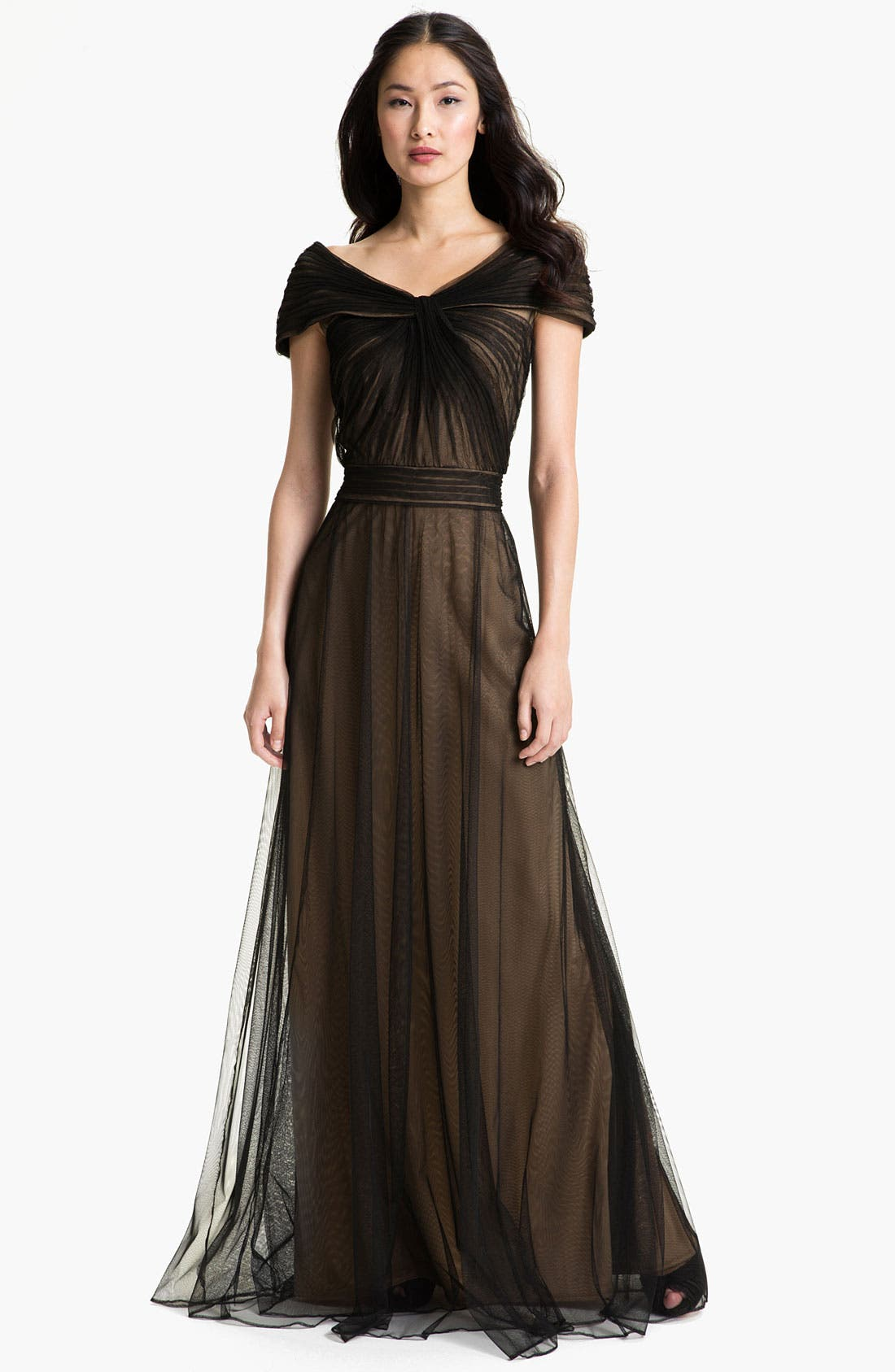 Main Image - Tadashi Shoji Portrait Collar Pleated Mesh Gown (Regular & Petite)