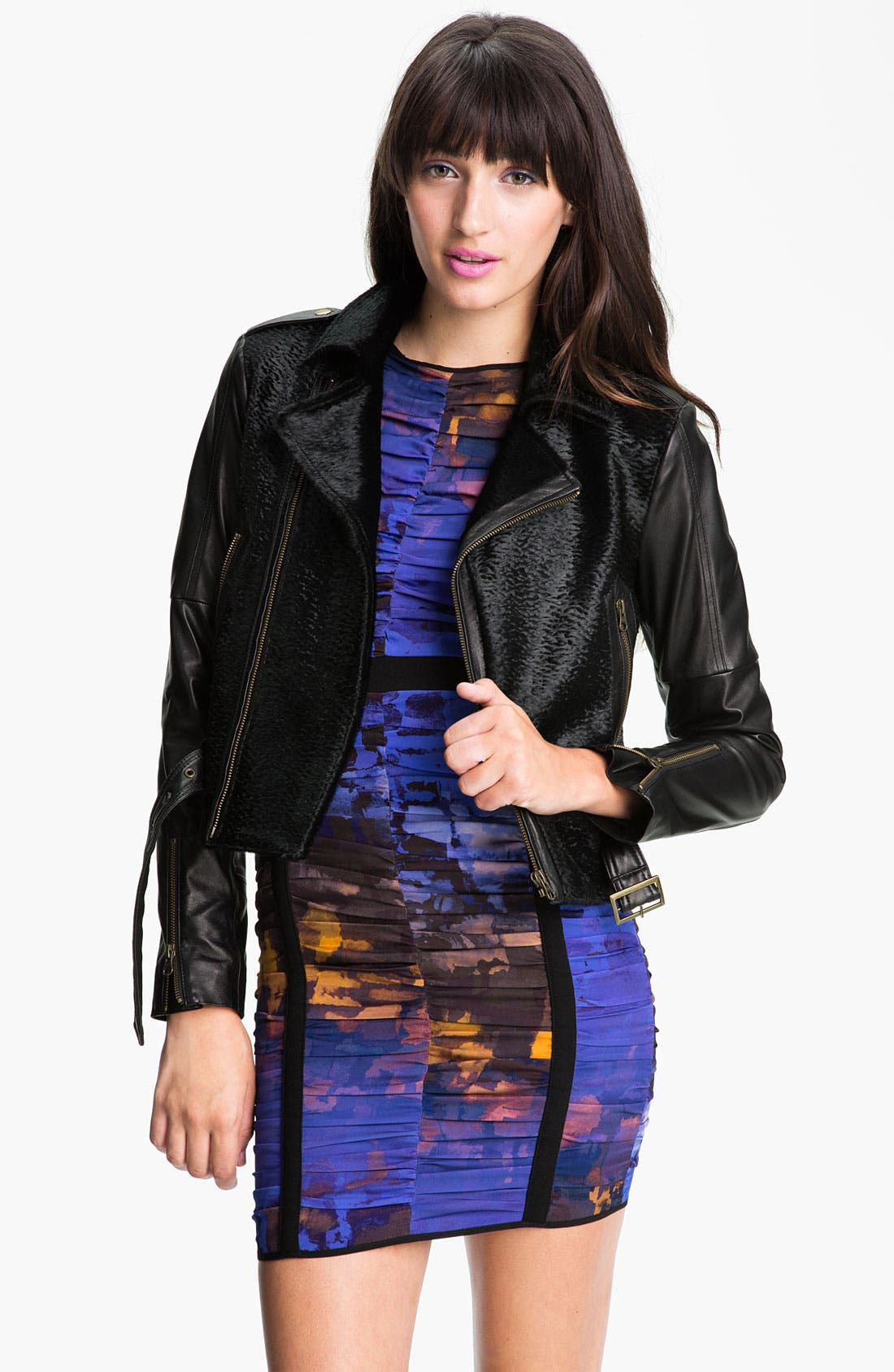 Alternate Image 1 Selected - Rebecca Minkoff Genuine Calf Hair & Leather Jacket