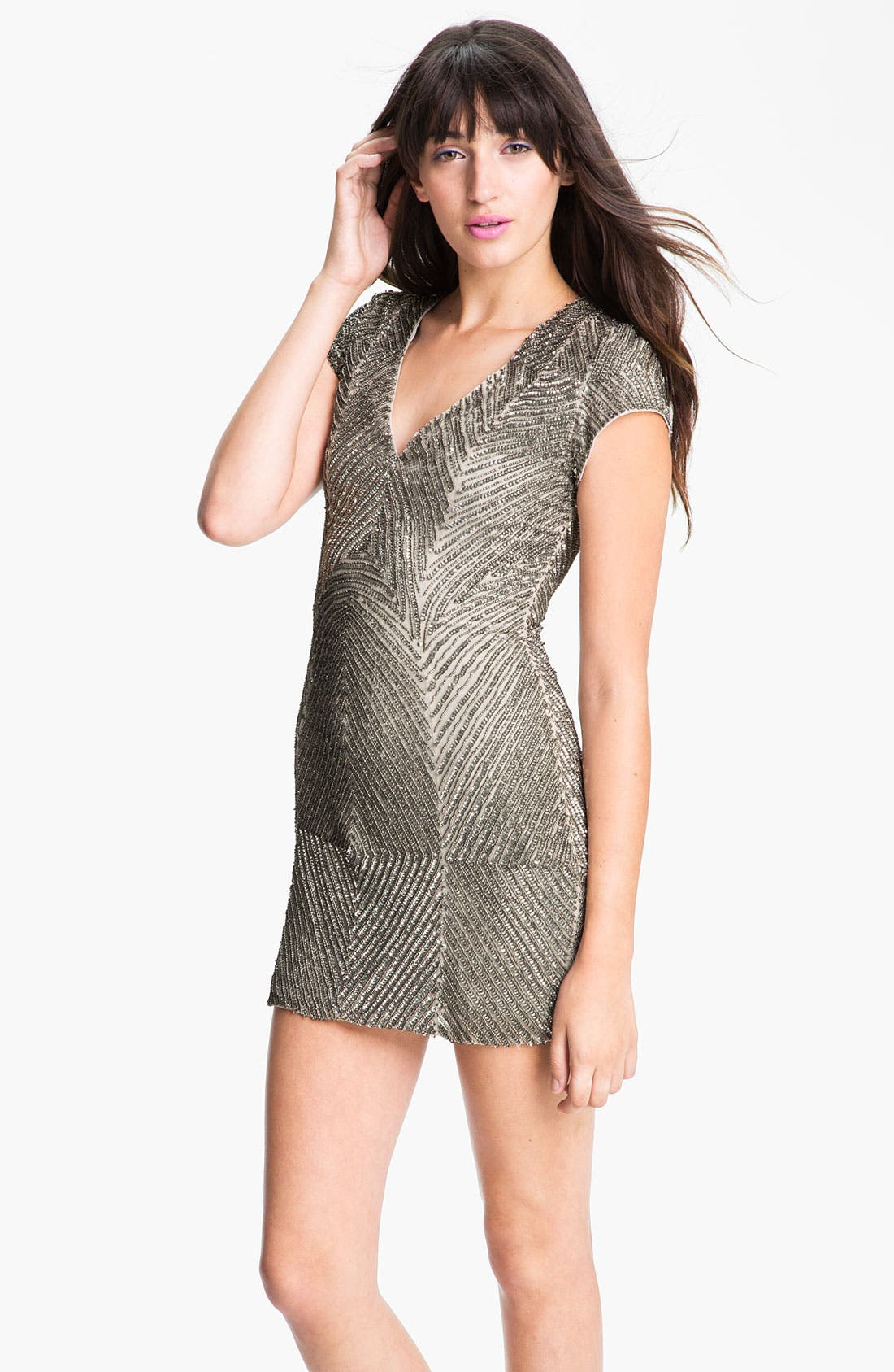 Alternate Image 1 Selected - Parker Embellished Short Sleeve V-Neck Dress