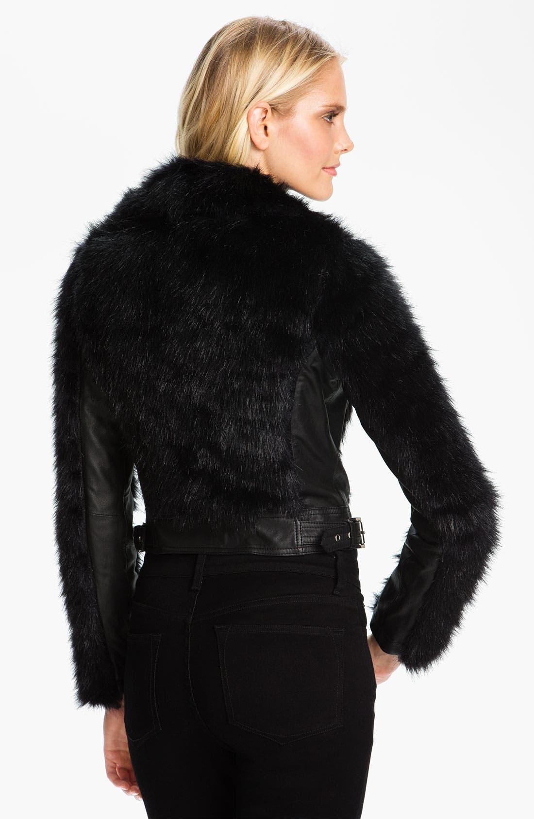 Alternate Image 2  - MICHAEL Michael Kors Faux Fur & Faux Leather Jacket