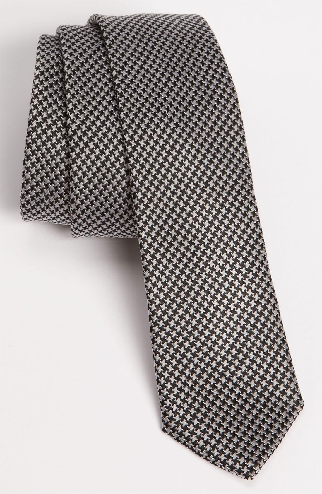 Main Image - Topman Skinny Houndstooth Woven Tie