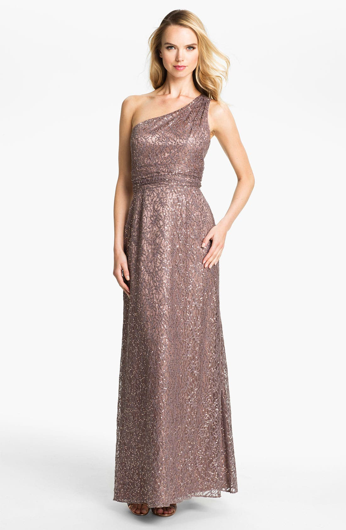 Alternate Image 1 Selected - Hailey by Adrianna Papell One Shoulder Sequin Lace Gown