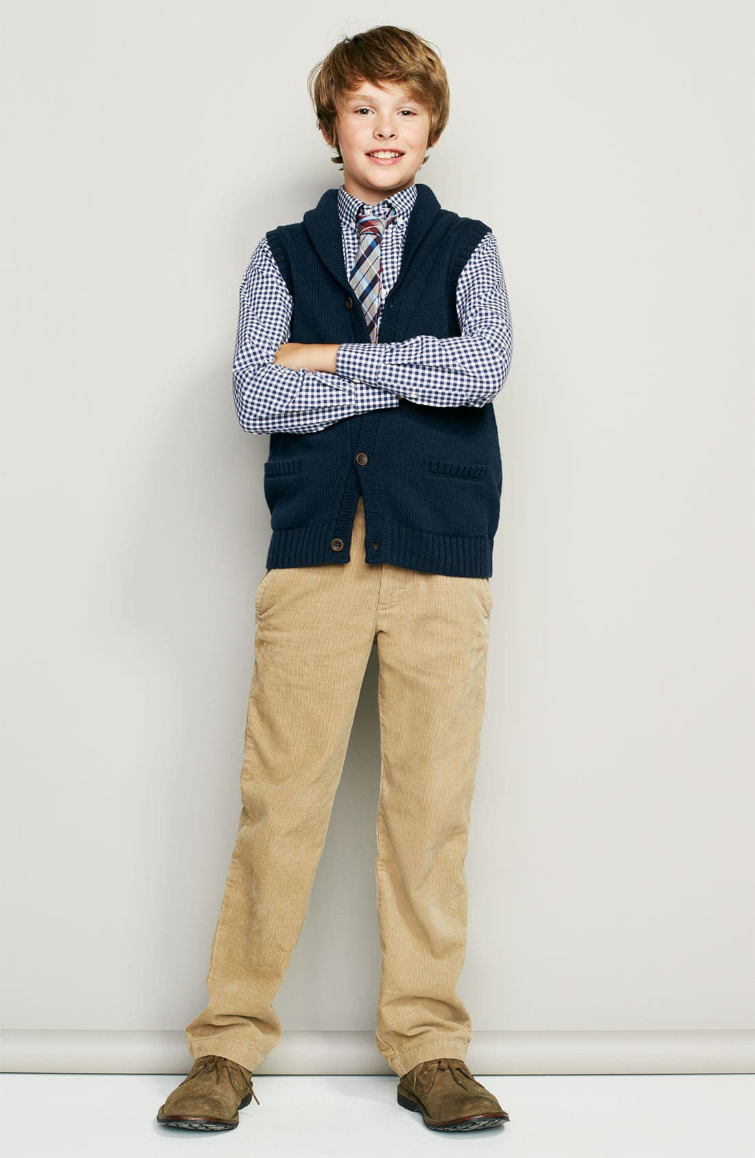 Alternate Image 1 Selected - Nordstrom Dress Shirt, Vest & Tie (Big Boys)