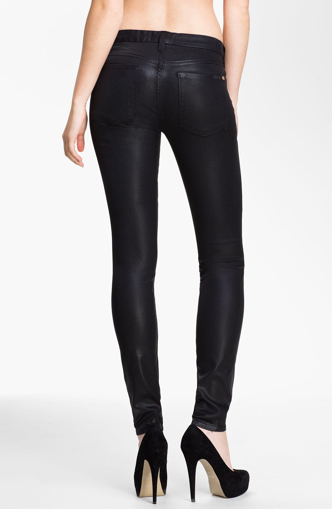 Alternate Image 2  - 7 For All Mankind® Coated Skinny Stretch Jeans (Black)