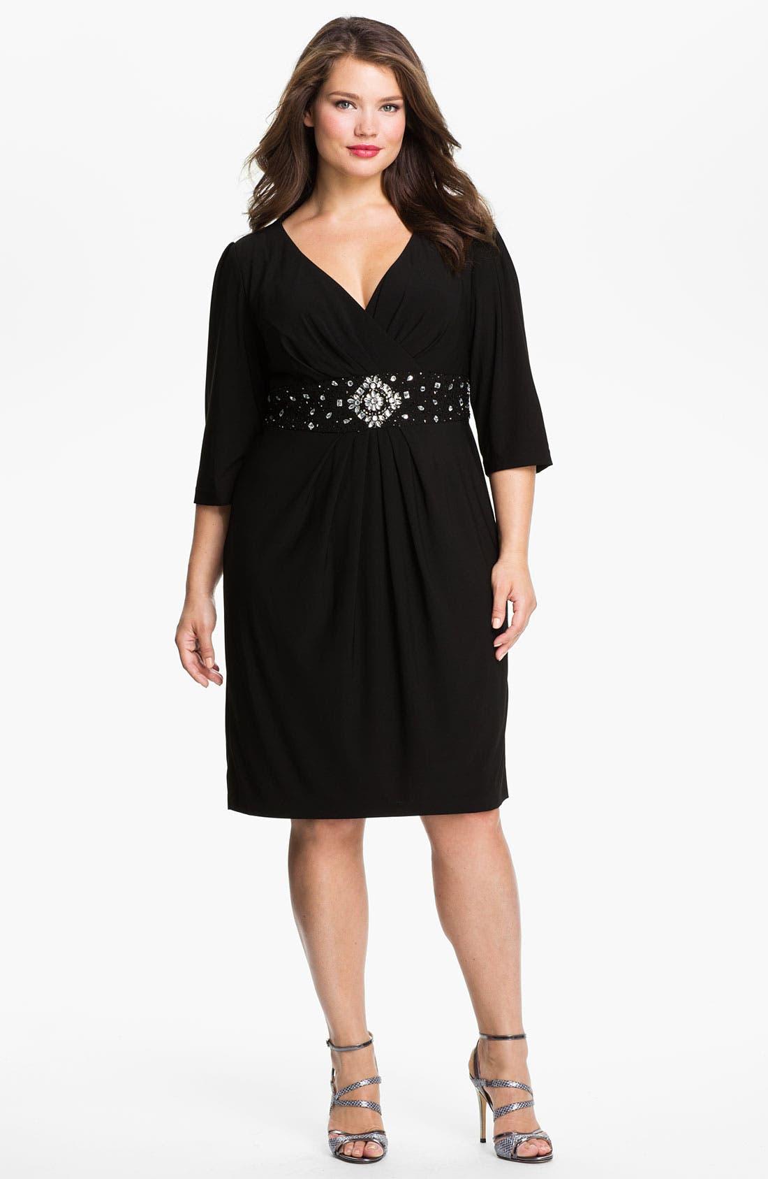 Alternate Image 1 Selected - Alex Evenings Beaded Surplice Dress (Plus Size)