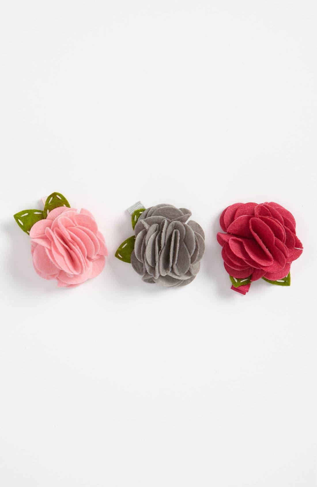 Main Image - PLH Bows & Laces Felt Flower Clips (Set of 3)
