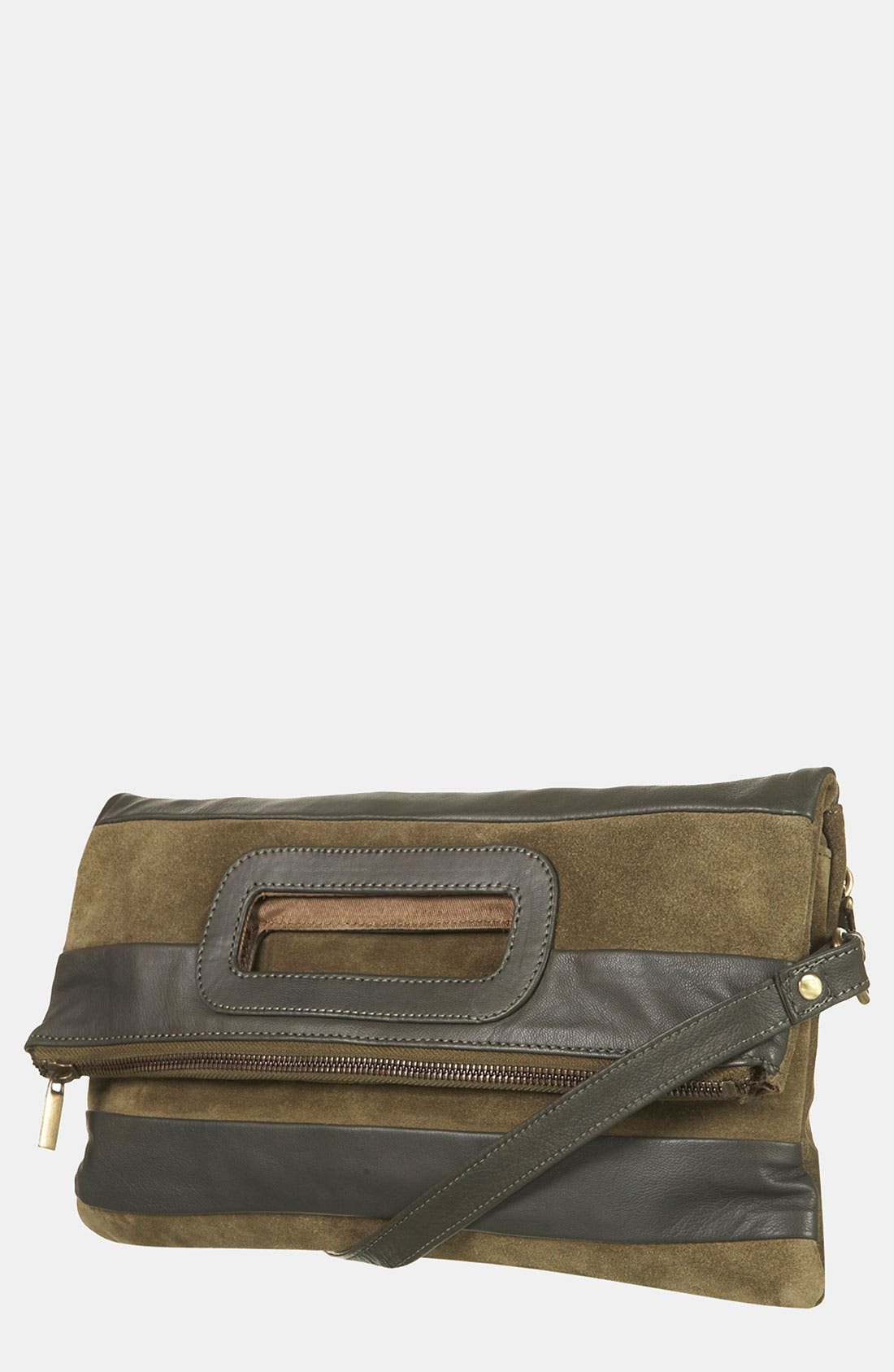 Main Image - Topshop Stripe Suede & Leather Convertible Clutch