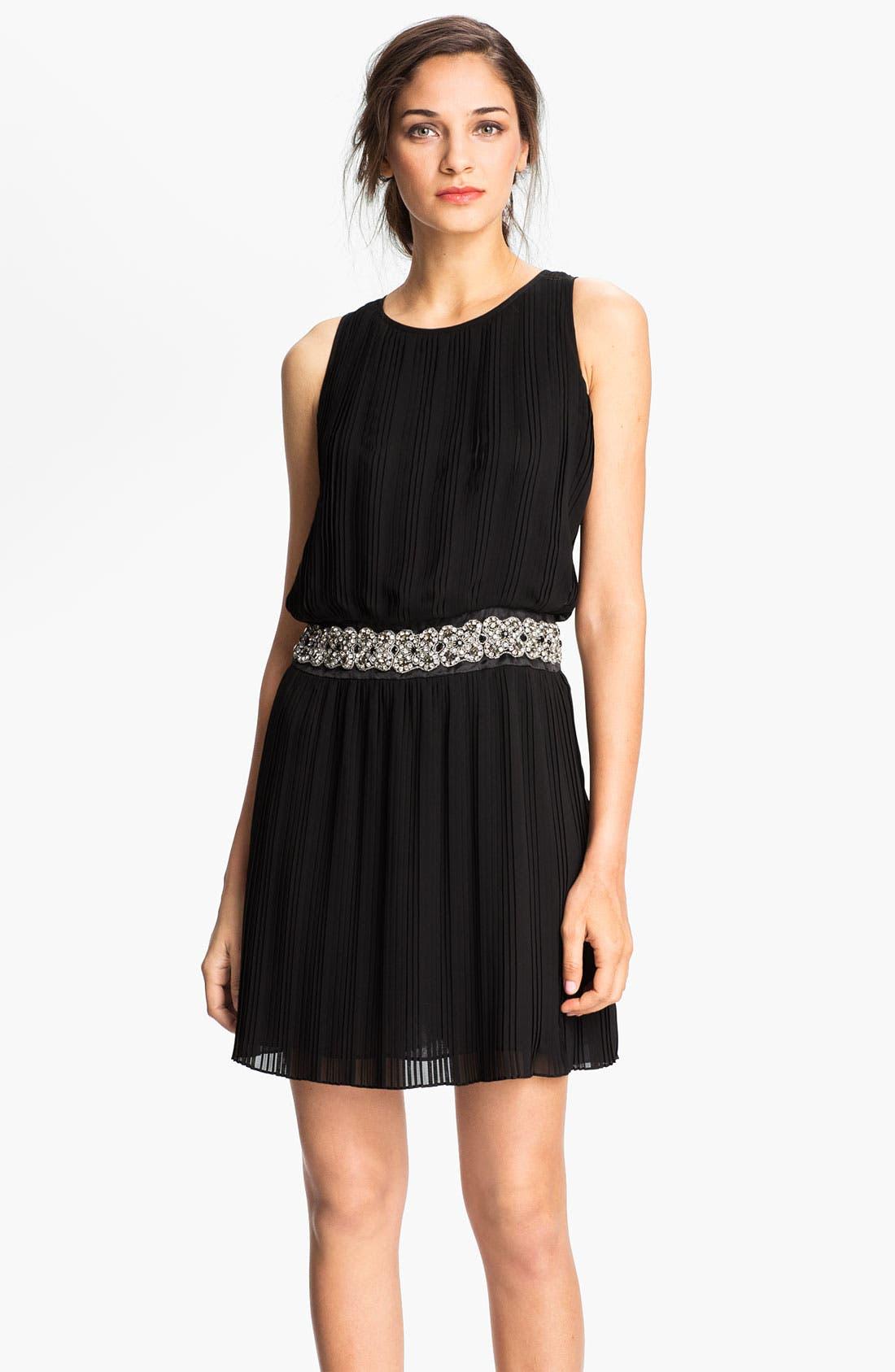 Alternate Image 1 Selected - Eliza J Embellished Waist Pleated Mesh Blouson Dress