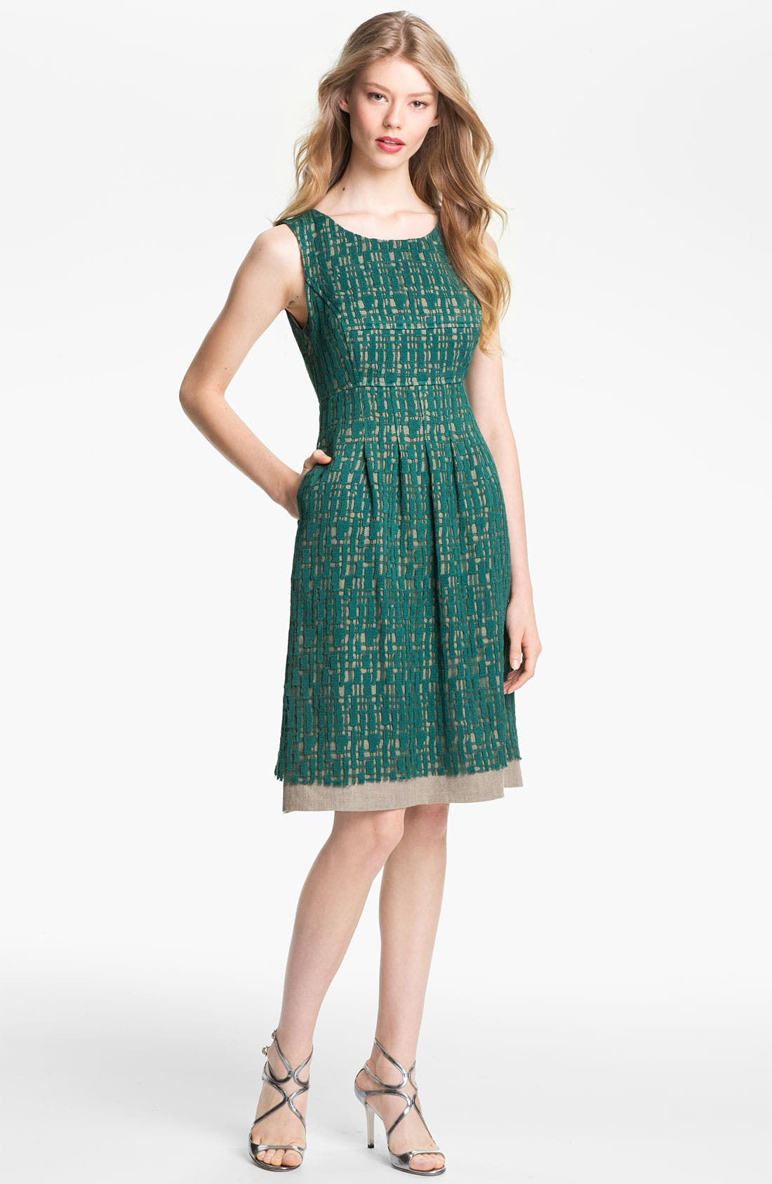 Main Image - Lela Rose Lace Overlay Sheath Dress