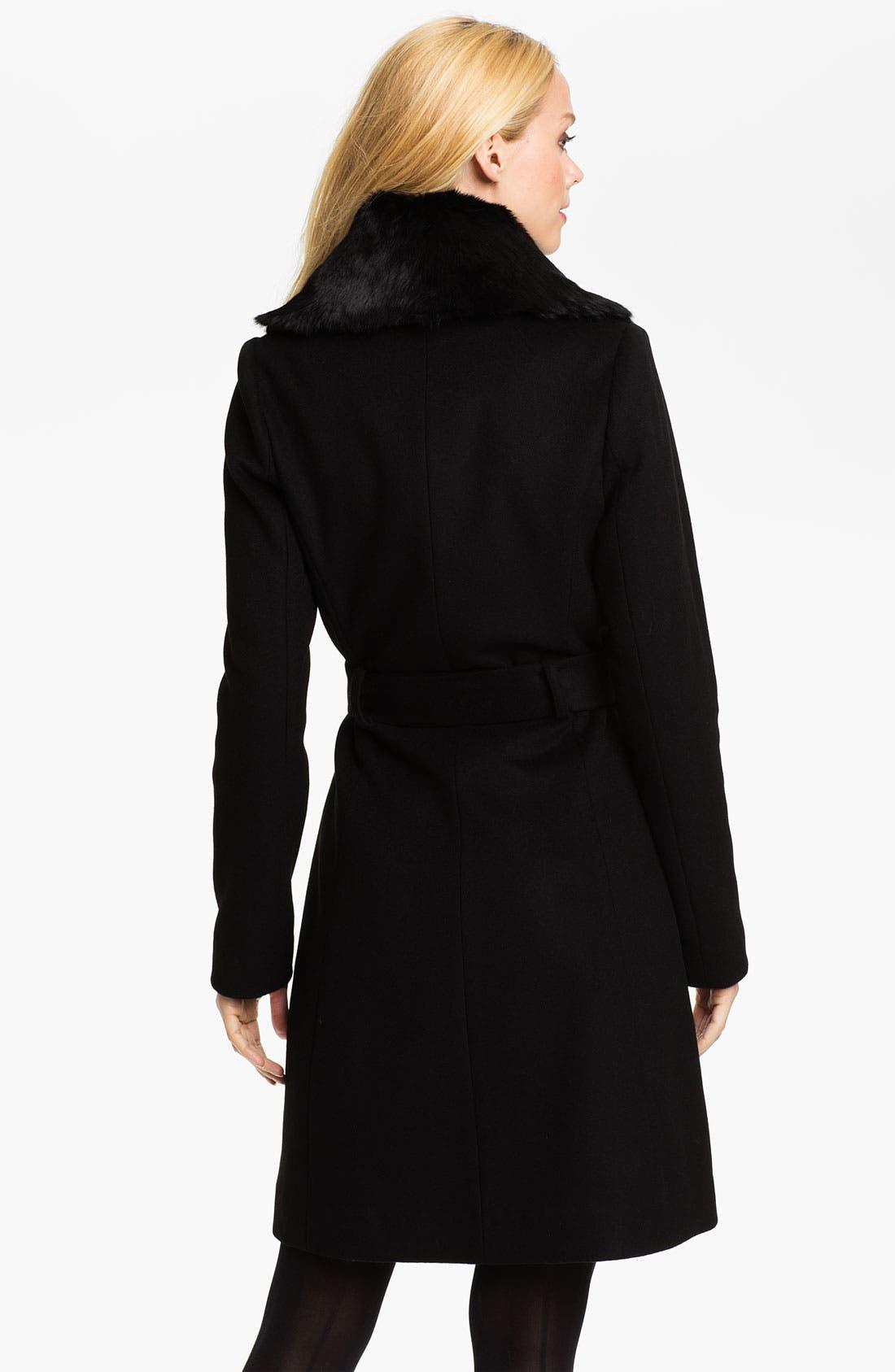 Alternate Image 2  - Badgley Mischka 'Julia' Genuine Rabbit Collar Coat