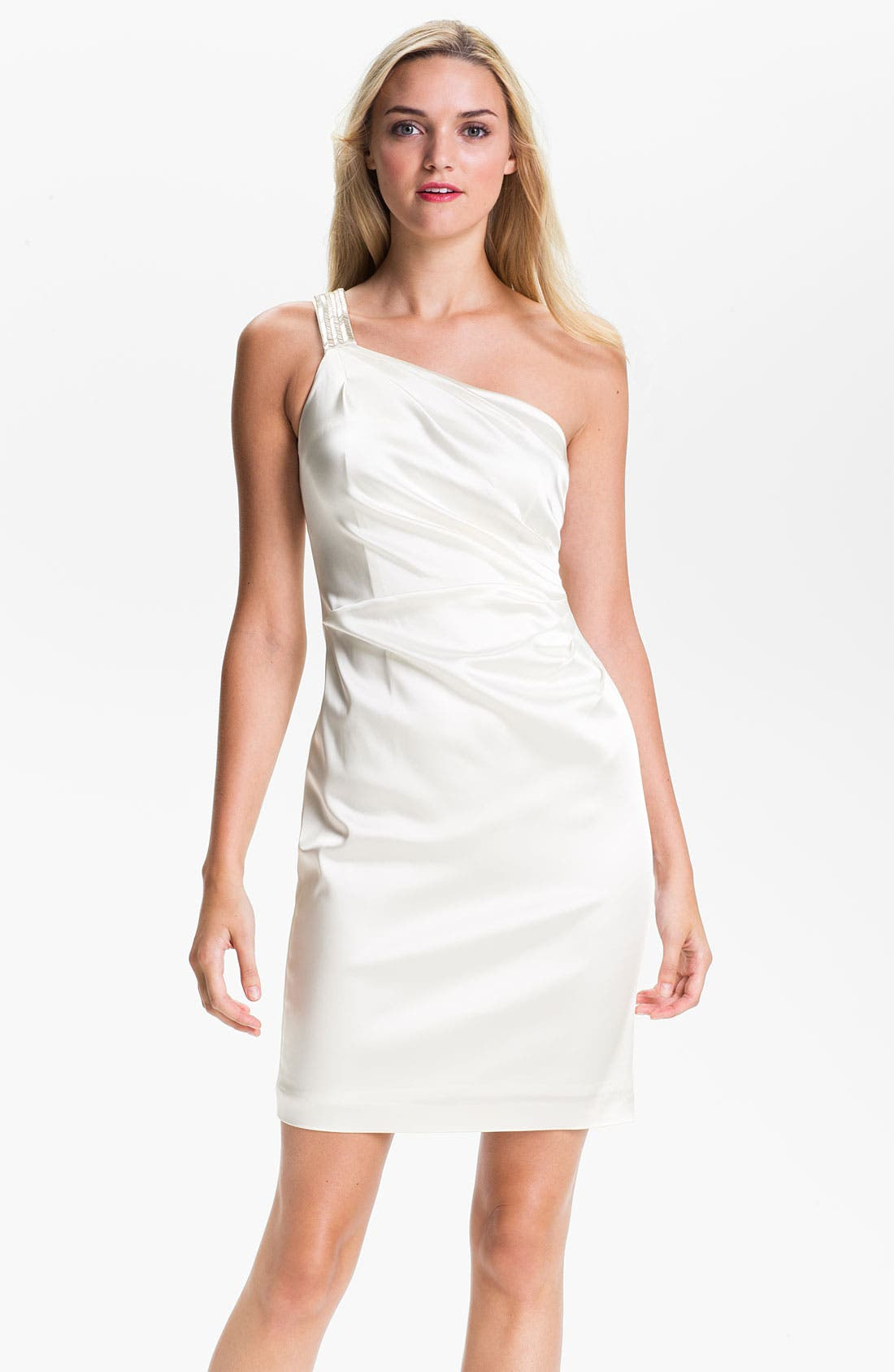 Alternate Image 1 Selected - Calvin Klein One Shoulder Satin Sheath Dress