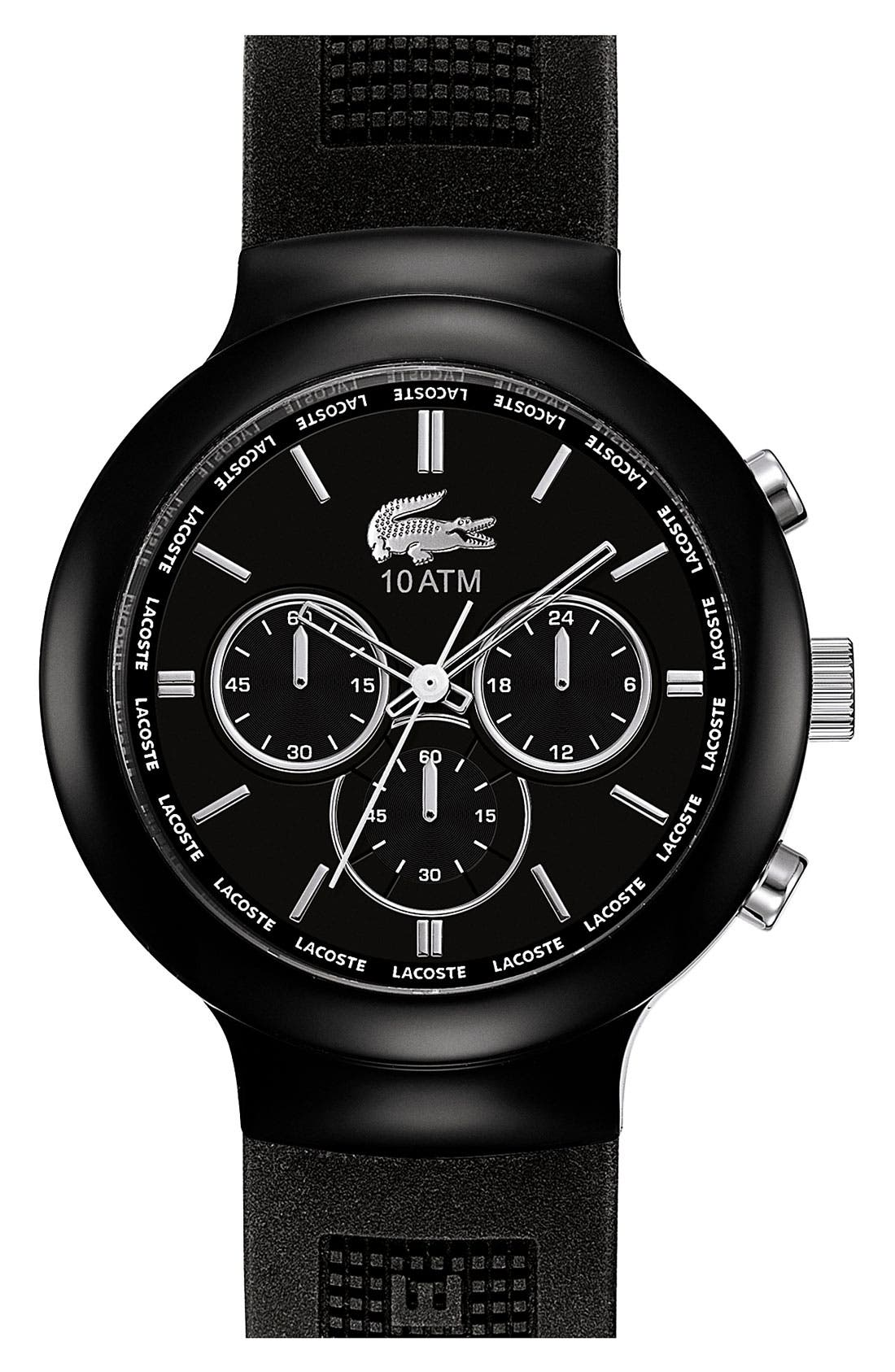Main Image - Lacoste 'Boreno' Chronograph Silicone Strap Watch, 44mm