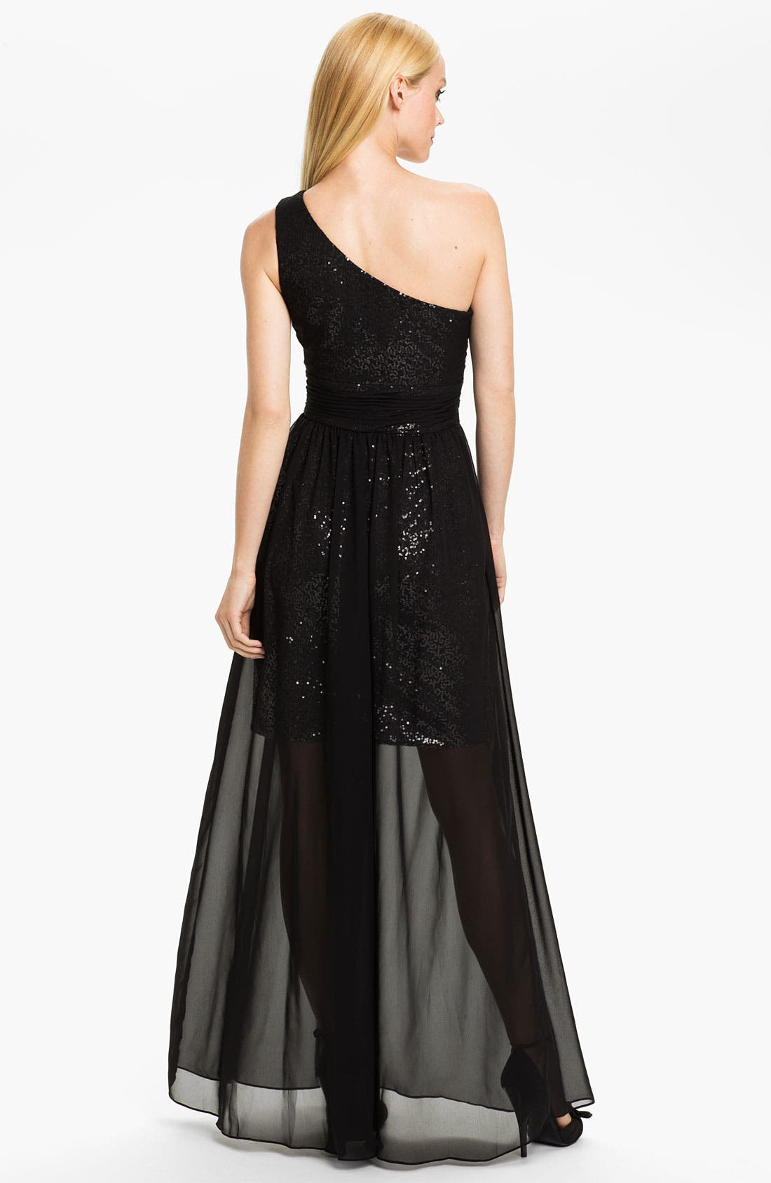 Alternate Image 2  - Hailey by Adrianna Papell One Shoulder Chiffon Overlay Gown