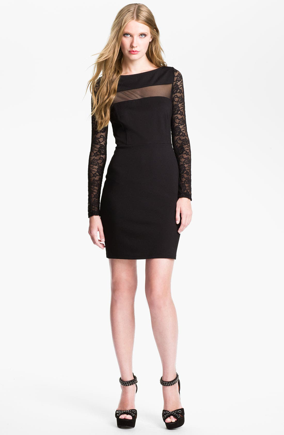 Main Image - BB Dakota 'Parley' Illusion Mesh Jersey Knit Sheath Dress