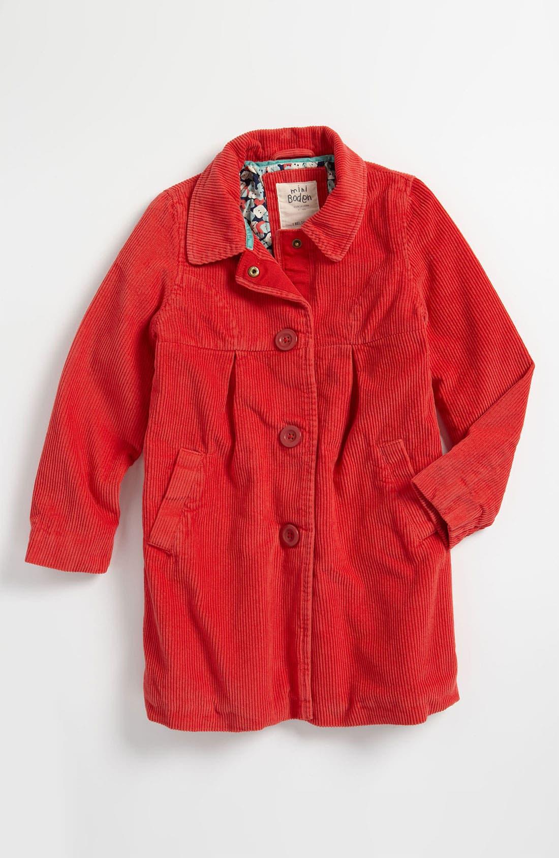 Alternate Image 1 Selected - Mini Boden 'Fun' Corduroy Coat (Toddler)
