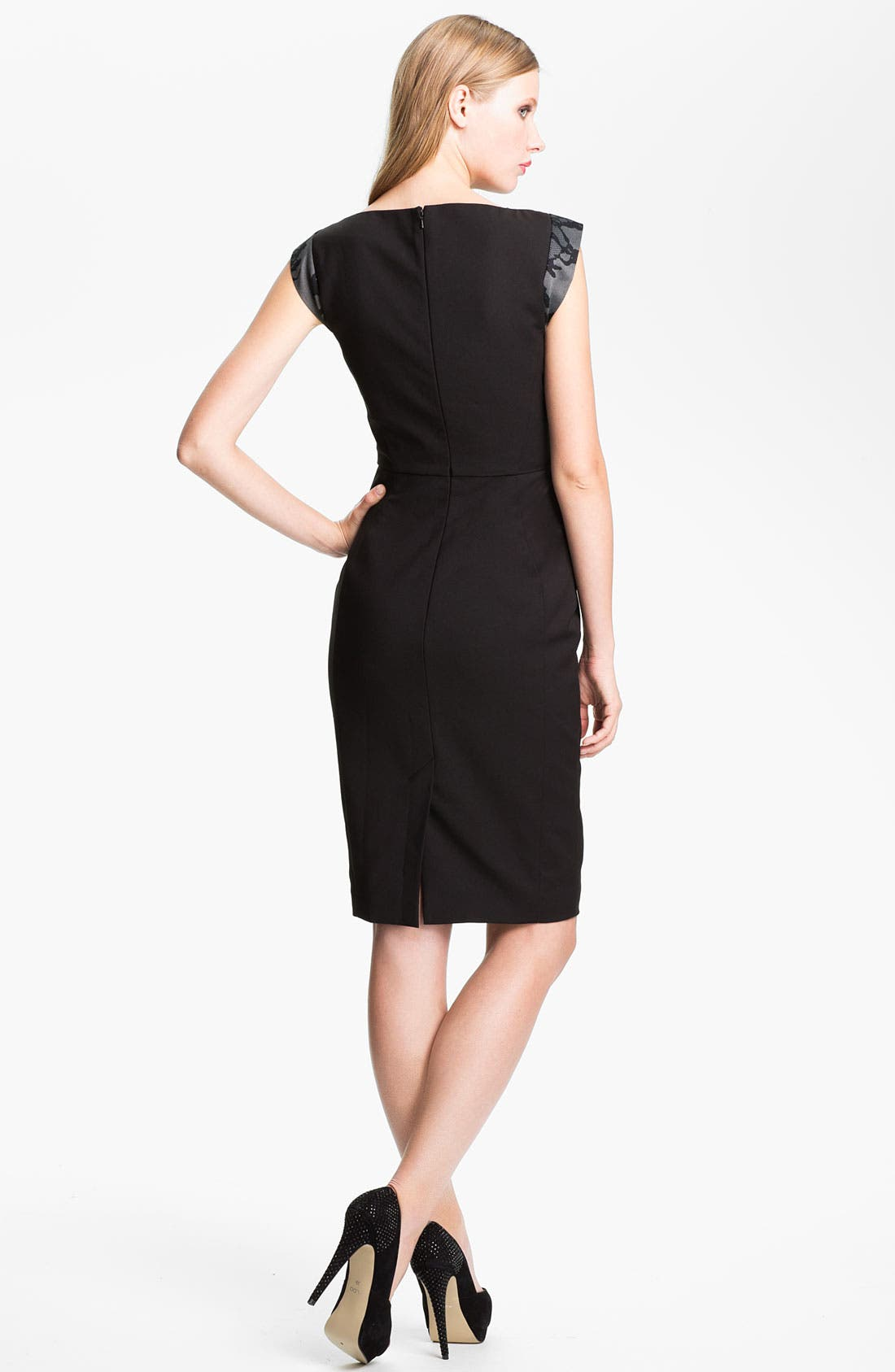 Alternate Image 2  - French Connection 'Milly' Lace Front Cap Sleeve Sheath Dress