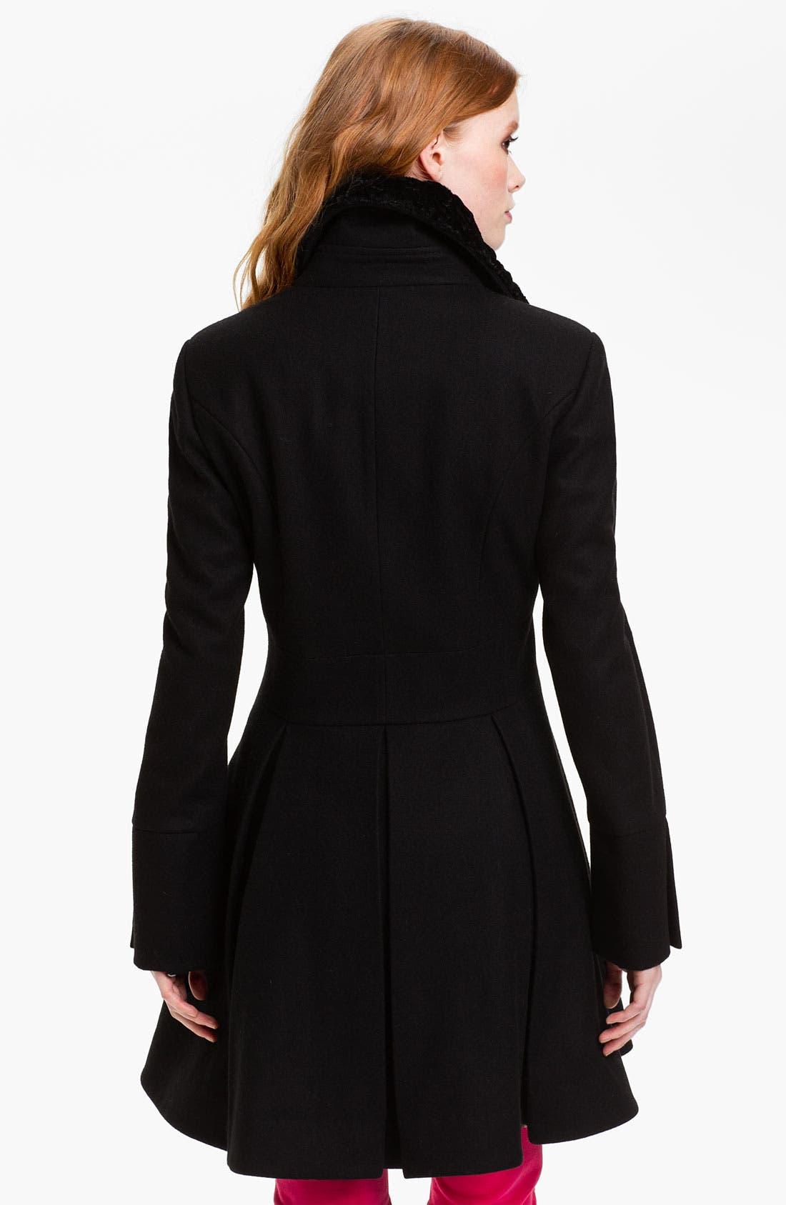 Alternate Image 2  - Betsey Johnson Faux Fur Collar Coat