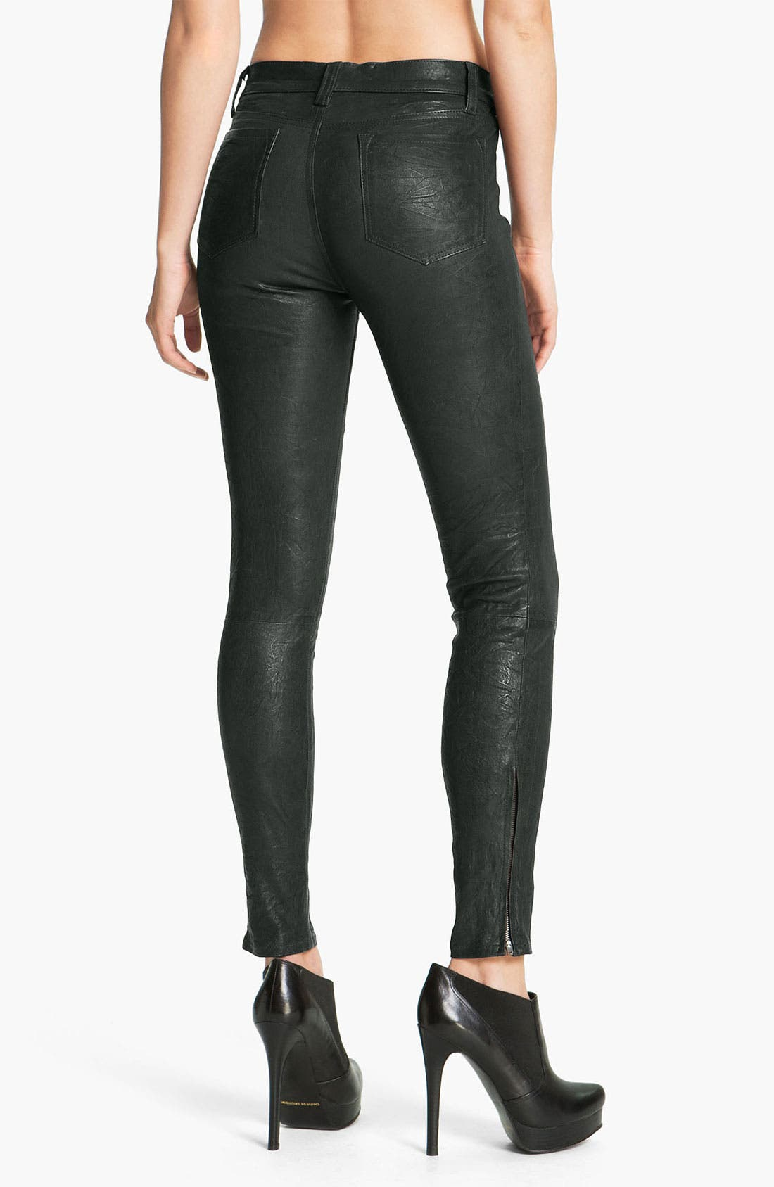 '8001' Lambskin Leather Pants,                             Alternate thumbnail 4, color,                             Forest