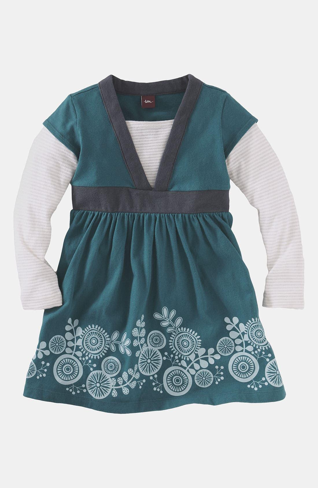 Main Image - Tea Collection 'Pinwheel' Layered Sleeve Dress (Toddler)