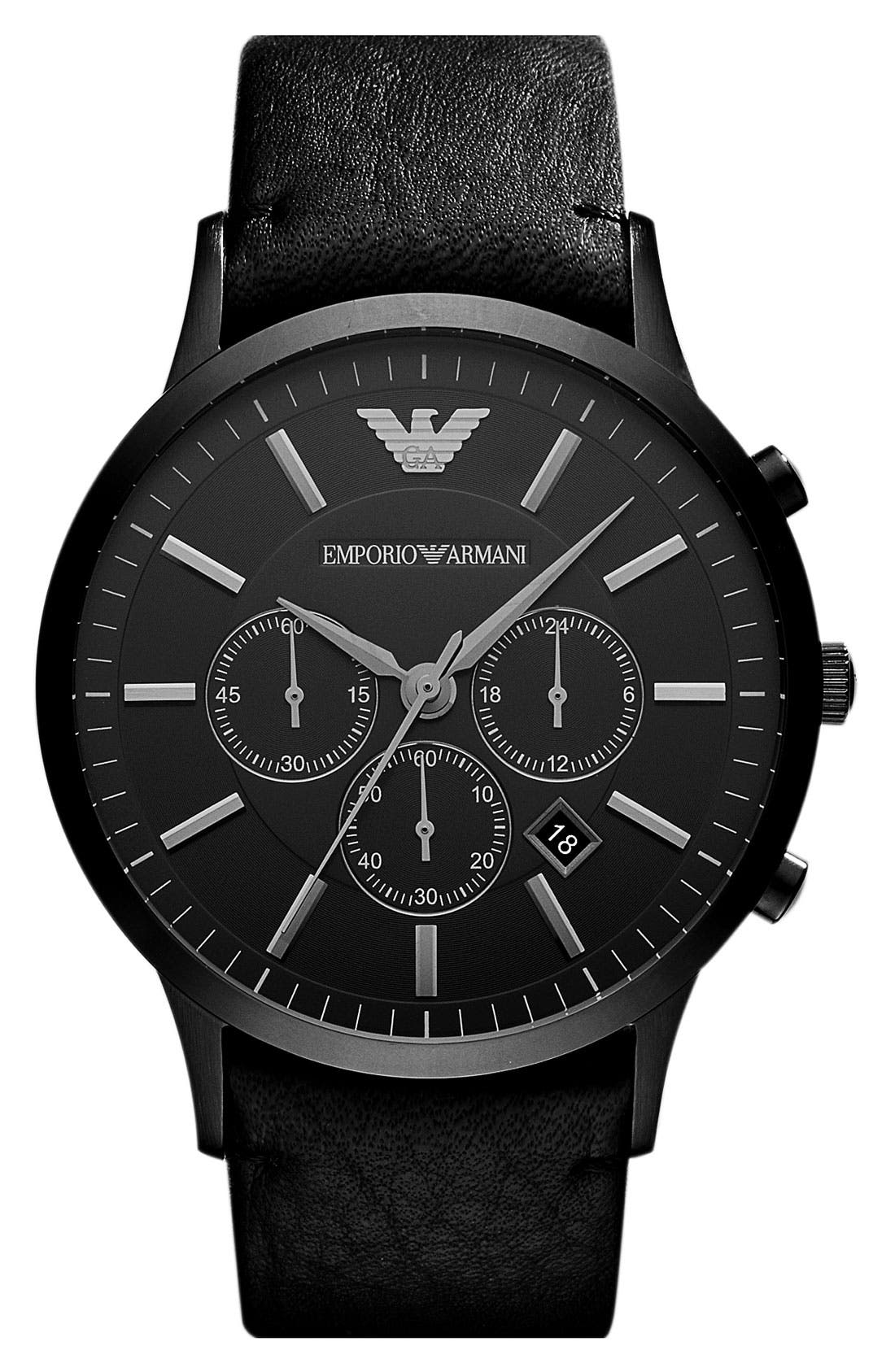 Large Round Chronograph Watch, 46mm,                             Main thumbnail 1, color,                             Black