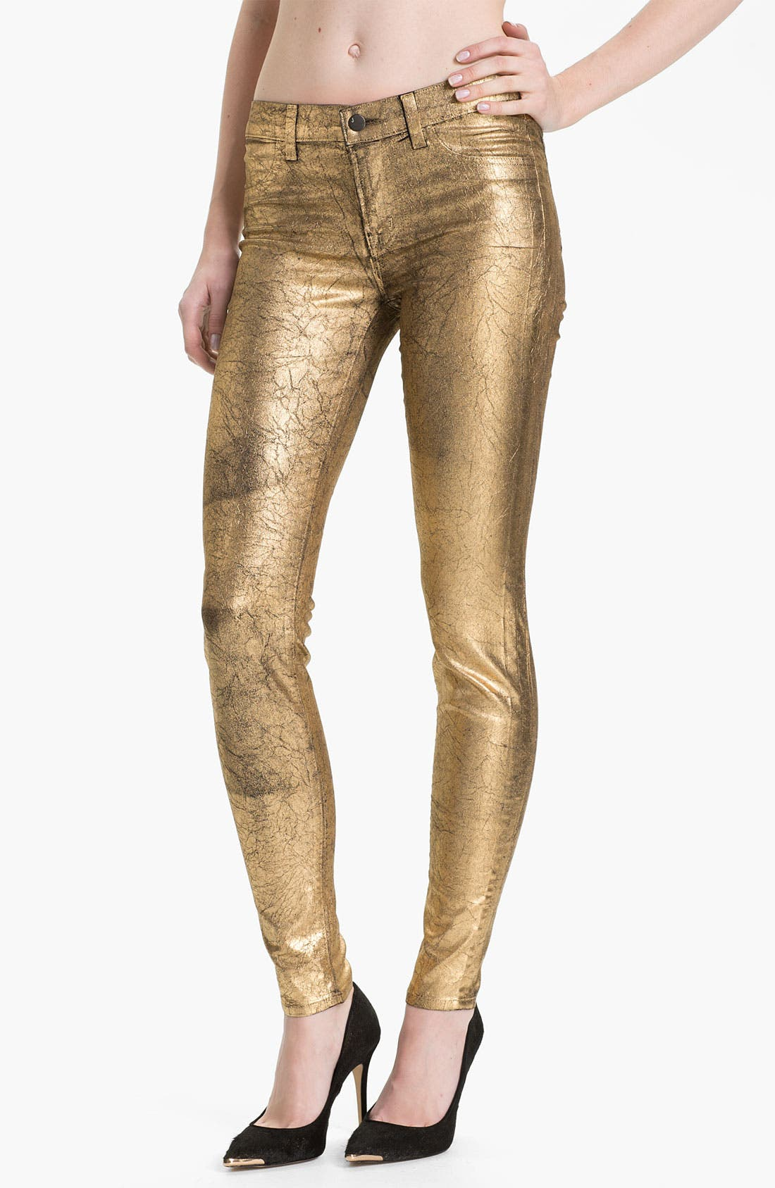 Main Image - J Brand Metallic Stretch Denim Leggings