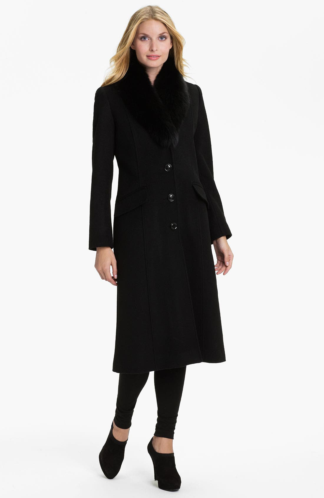 Main Image - Sachi Genuine Fox Fur Collar Coat
