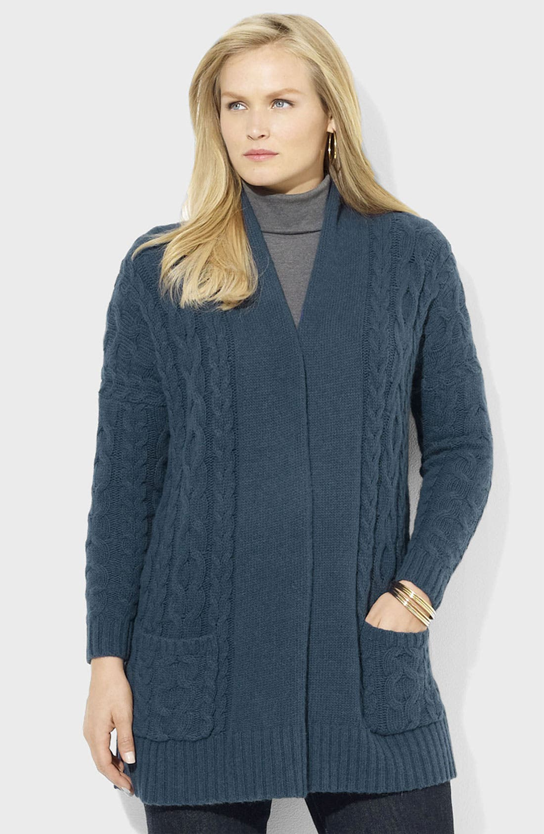 Alternate Image 1 Selected - Lauren Ralph Lauren Open Cable Cardigan (Plus)