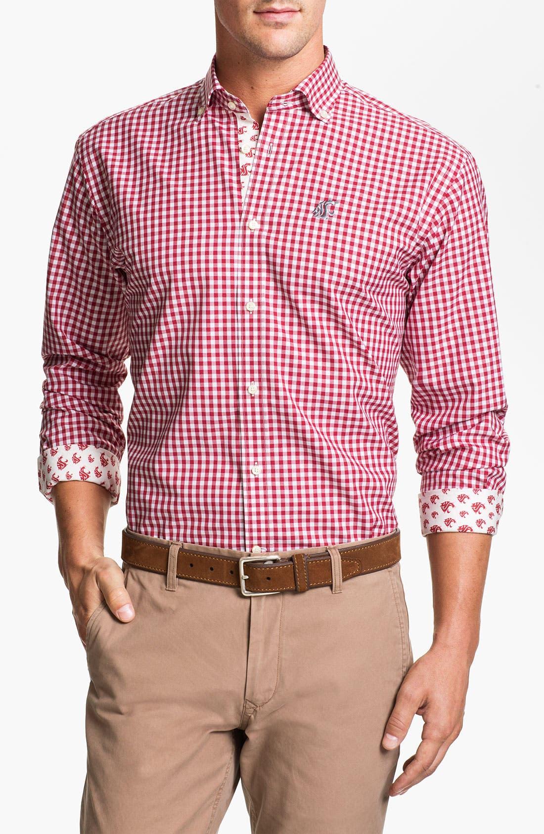 Alternate Image 1 Selected - Thomas Dean 'Washington State University' Gingham Sport Shirt